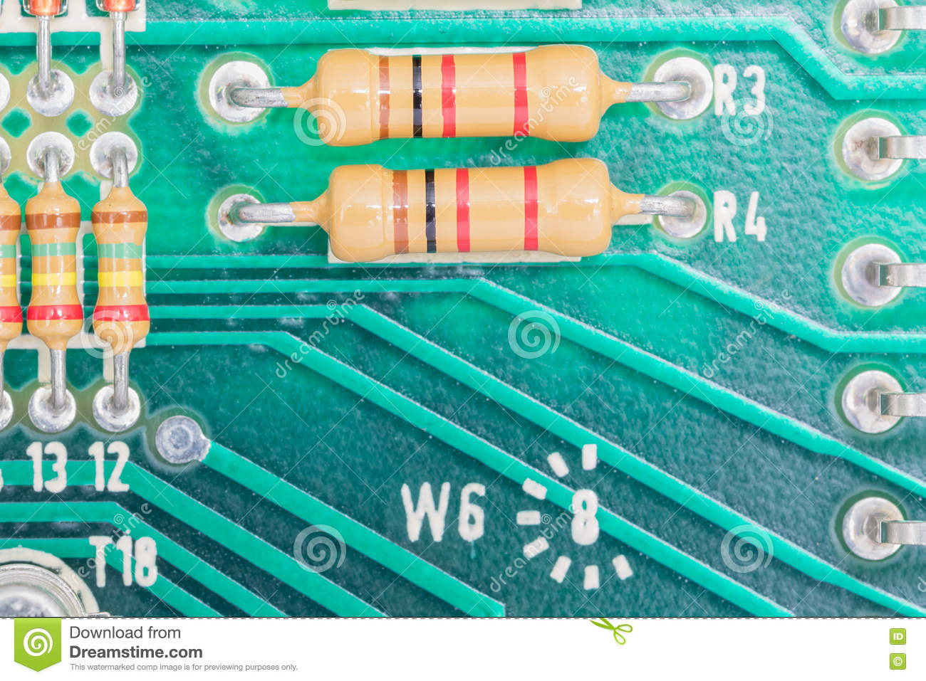 Condensers And Resistor Assembly On The Circuit Board Stock Image Closeup Electronic Hardware