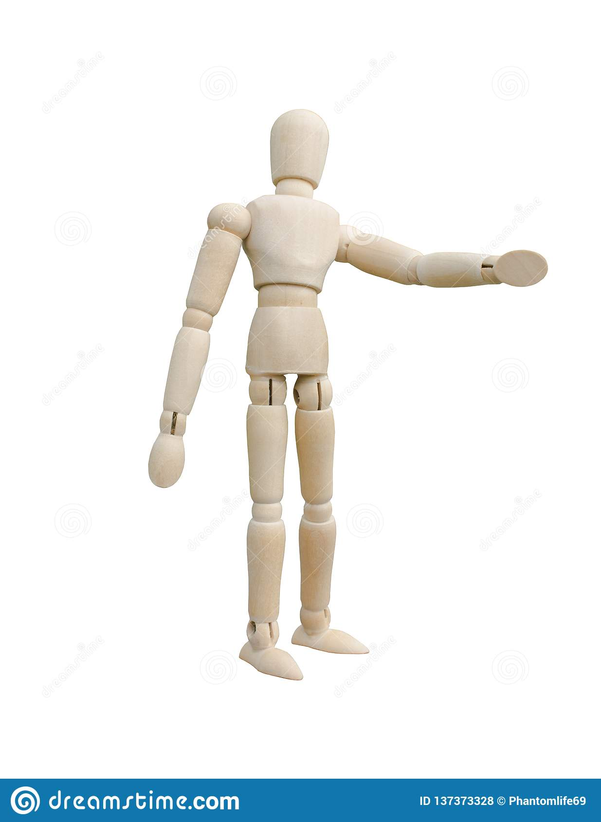 Condizione di legno del burattino ed indicare la sua mano a sinistra