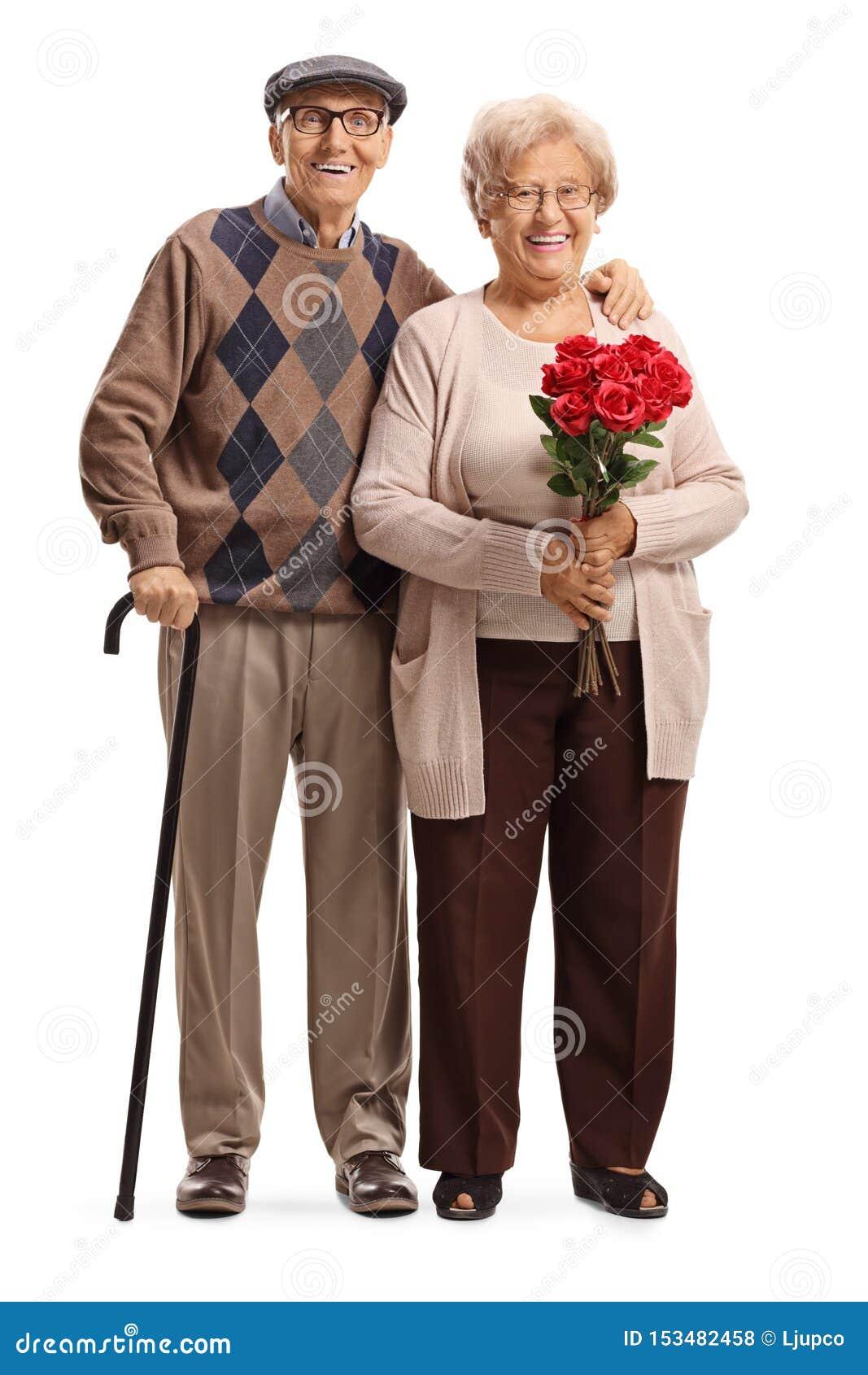 Condizione senior delle coppie con le rose rosse