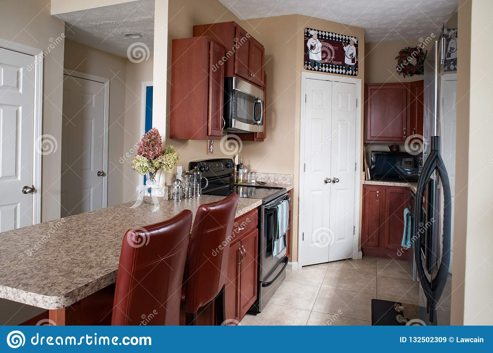 Condo Galley Kitchen With Cherry Cabinets Editorial Stock Image ...