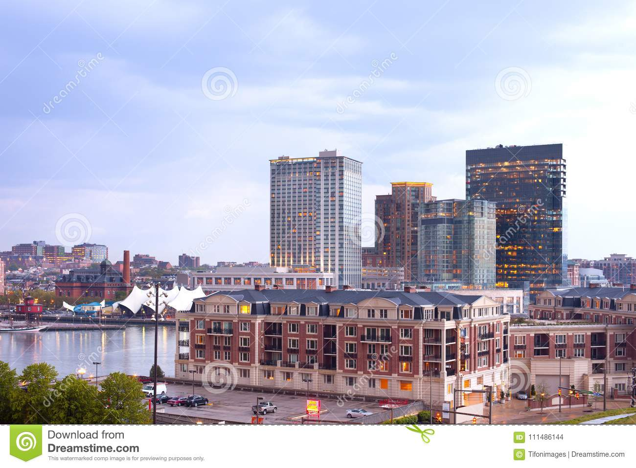 Download Condo And Office And Apartment Buildings On Baltimore Inner Harbor  Editorial Stock Image   Image