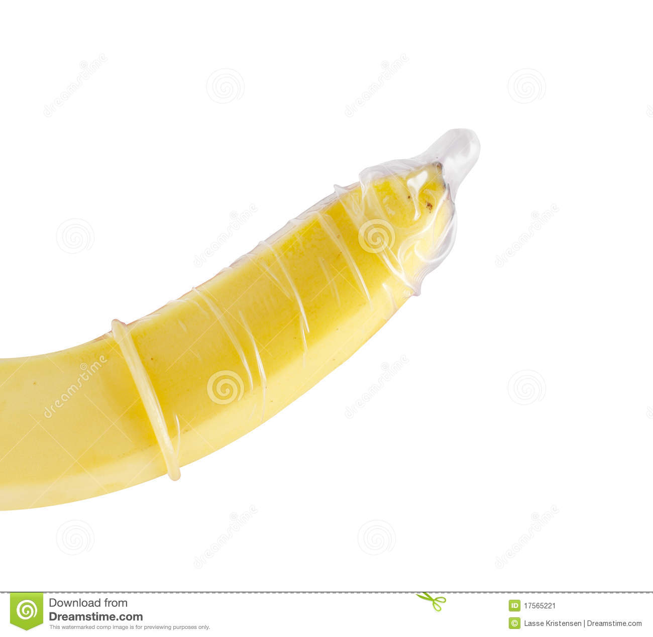 Condom on a banana on white.