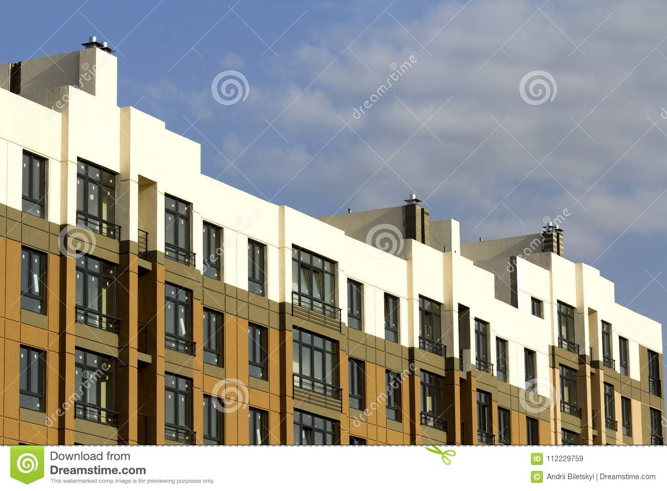 Condominium or modern apartment building with symmetrical architecture in the city downtown. Real estate development and urban gro