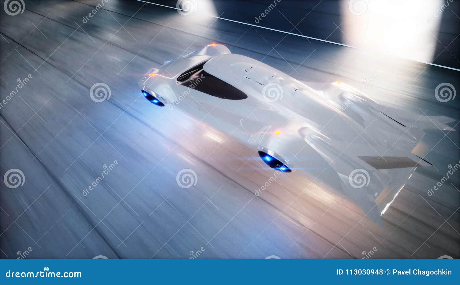Conducción rápida del coche futurista del vuelo en el túnel del fi del sci, coridor Concepto de futuro representación 3d