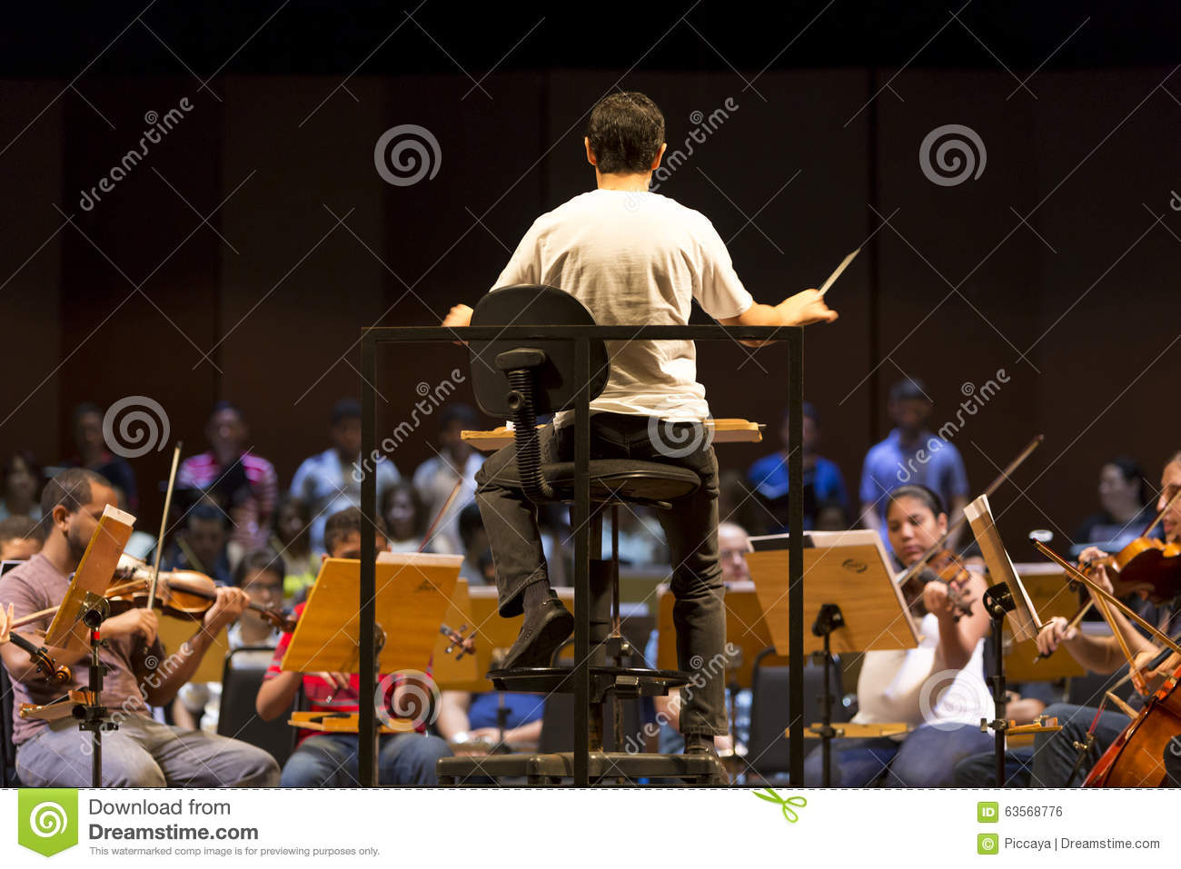 Conductor in classical orchestra at work in Manaus, Brazil