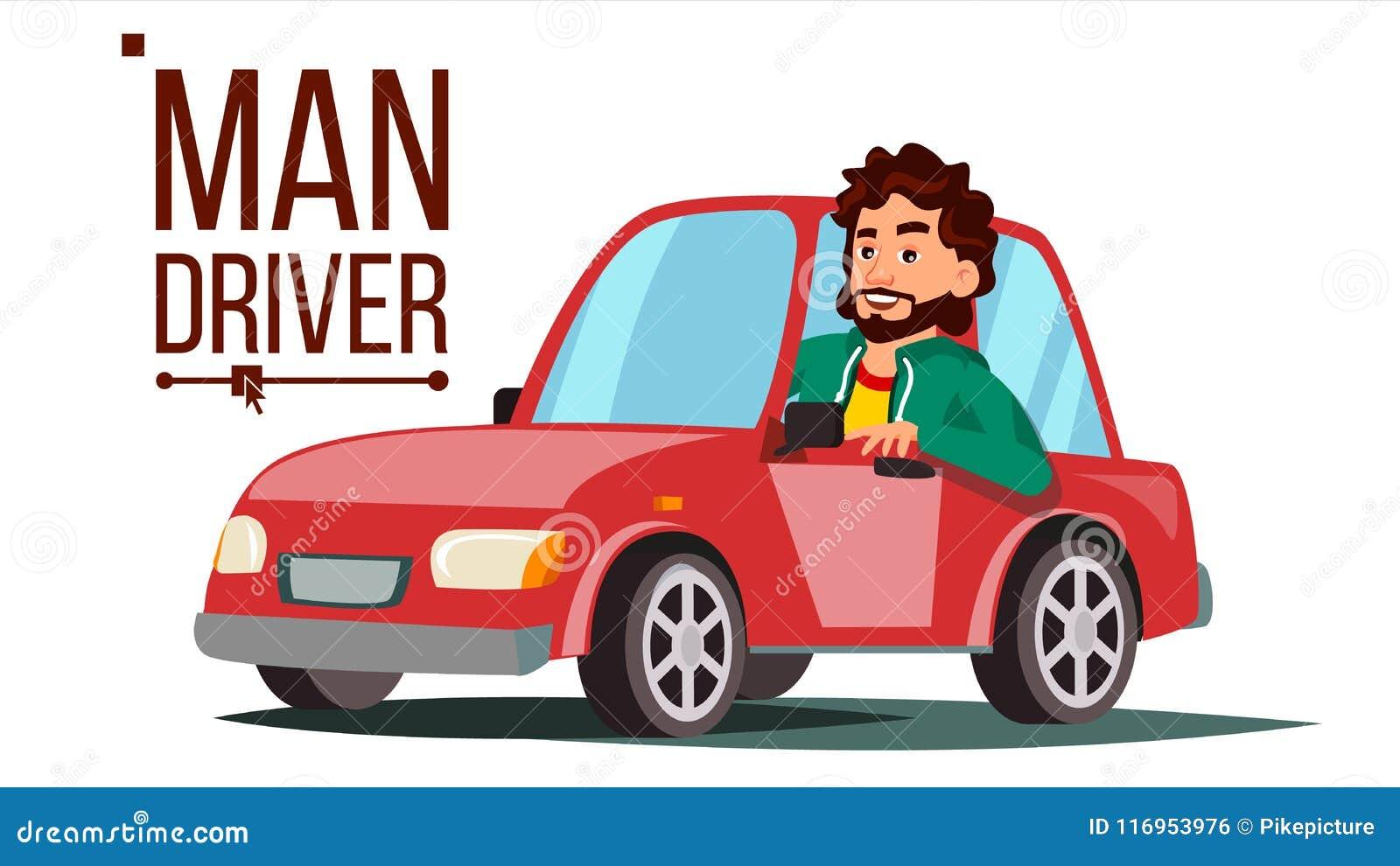 conductor vector del hombre el sentarse en autom vil moderno compre un nuevo coche concepto de. Black Bedroom Furniture Sets. Home Design Ideas