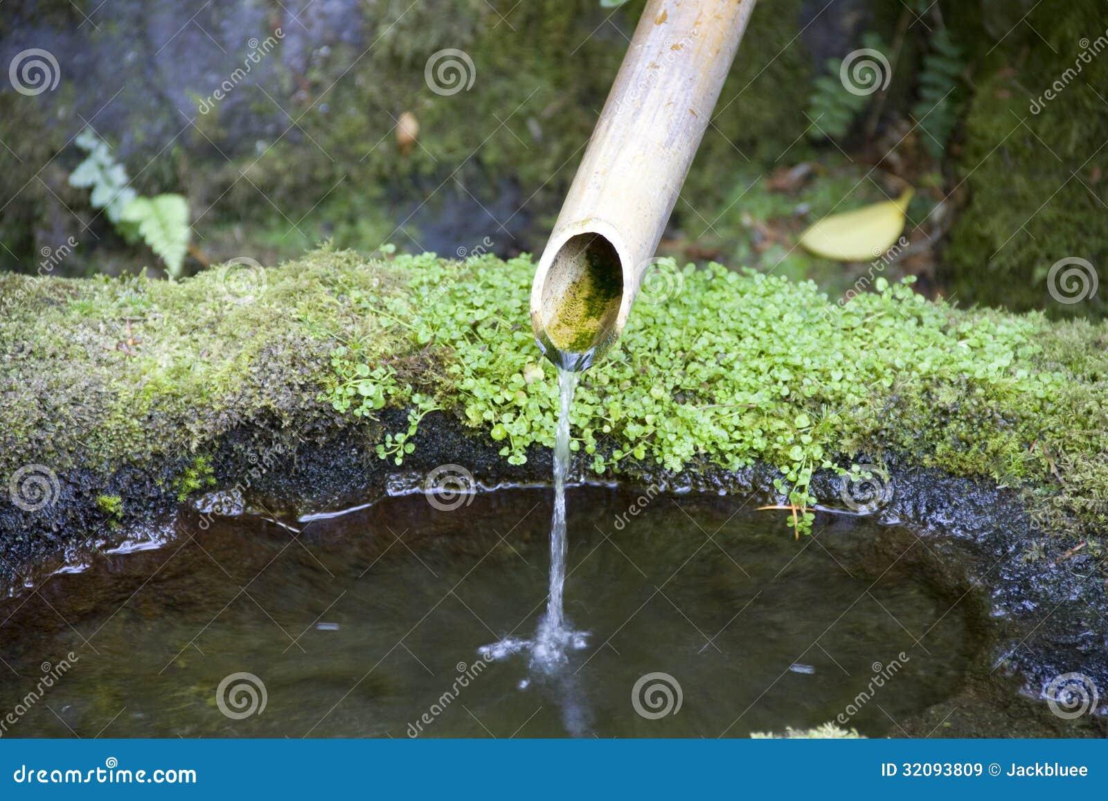 Conduite d 39 eau dans le jardin japonais images libres de for Point d eau dans le jardin