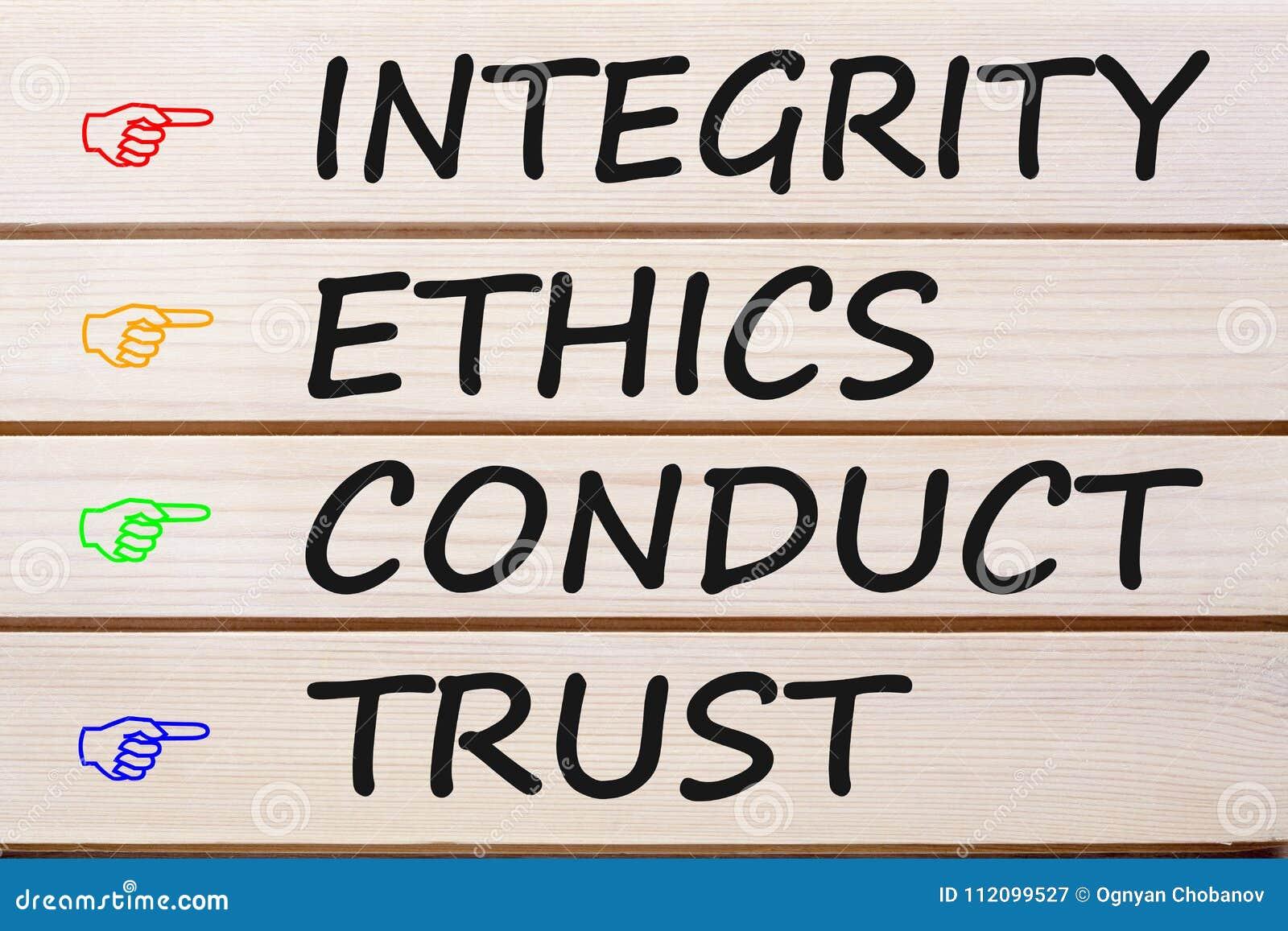 Conduta das éticas da integridade e conceito da confiança