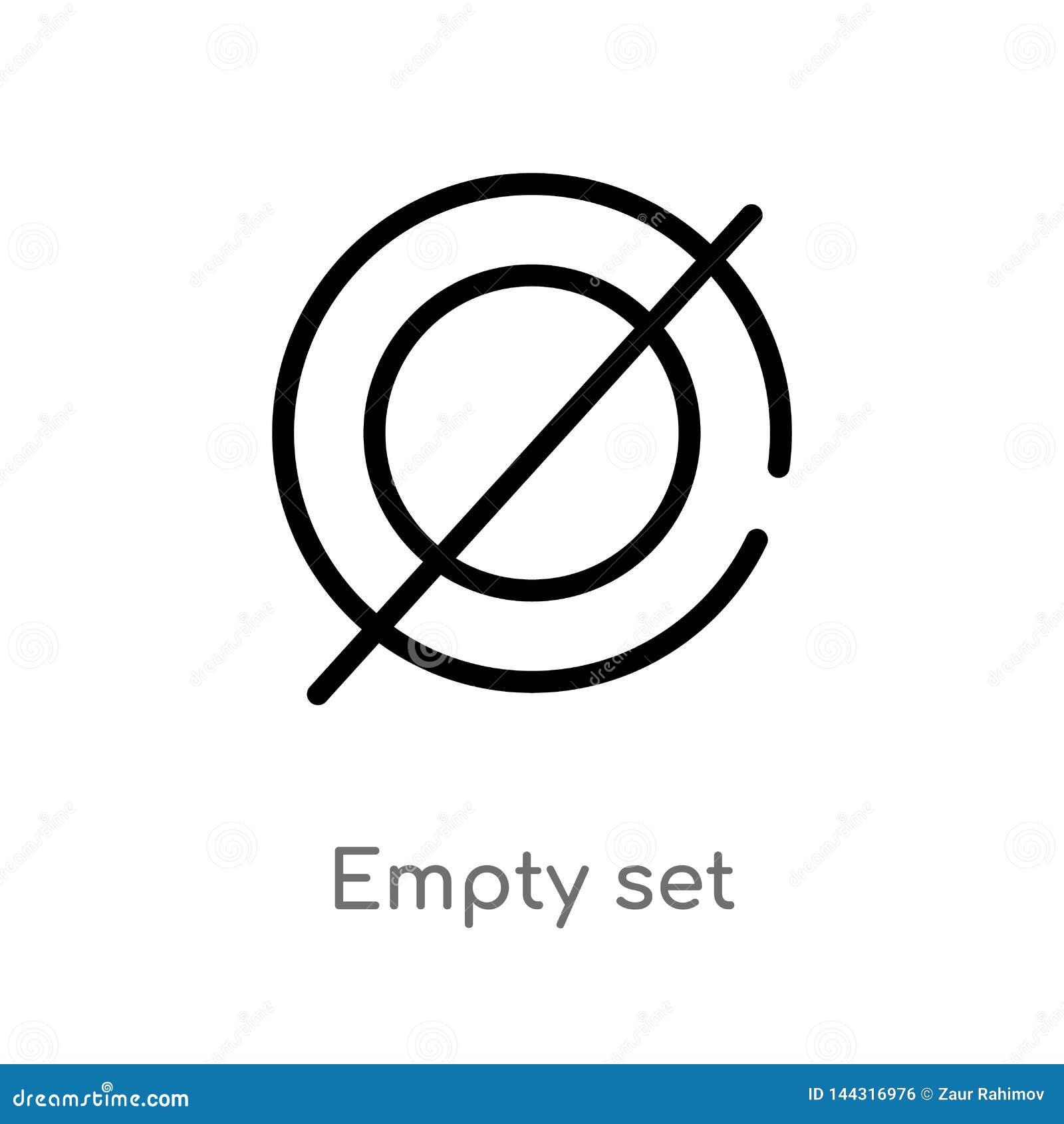 ?cone ajustado vazio do vetor do esbo?o linha simples preta isolada ilustra??o do elemento do conceito dos sinais curso edit?vel