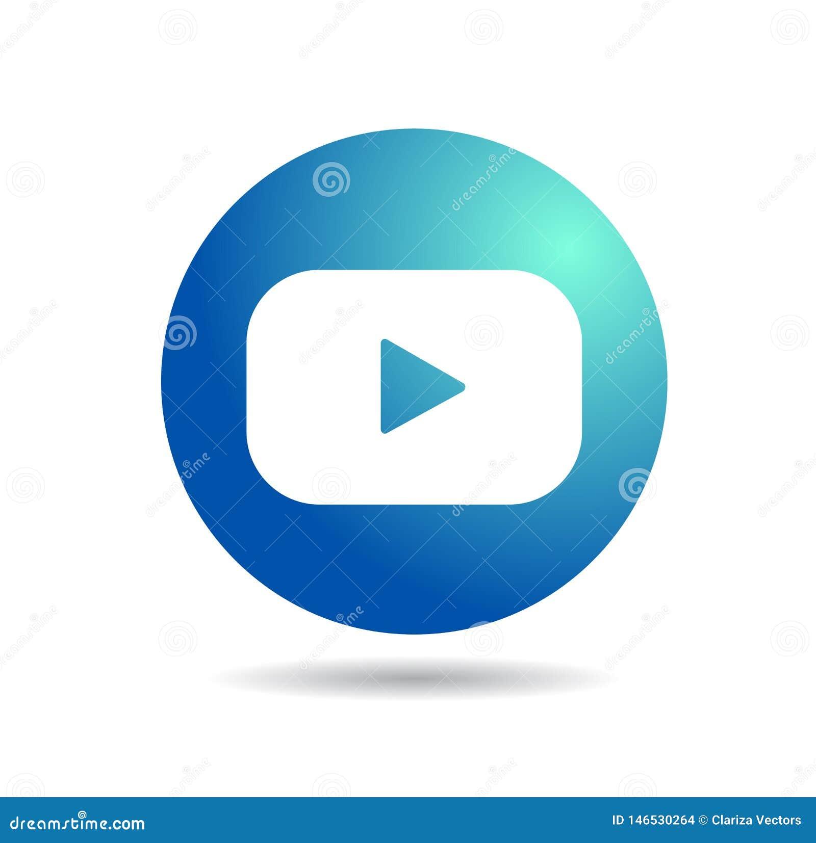 ?cone azul isolado simples do logotipo de YouTube
