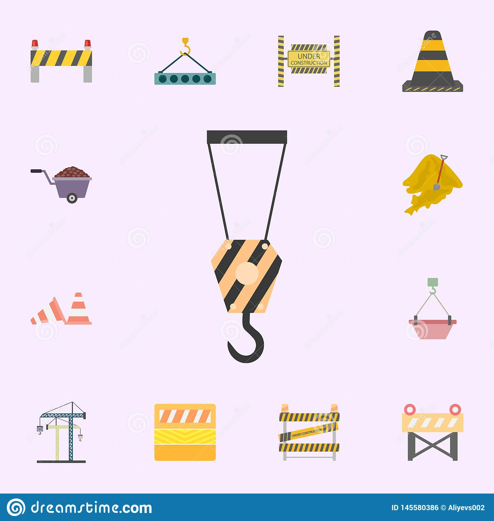 ?cone colorido gancho do guindaste Grupo universal dos ?cones dos materiais de constru??o para a Web e o m?bil