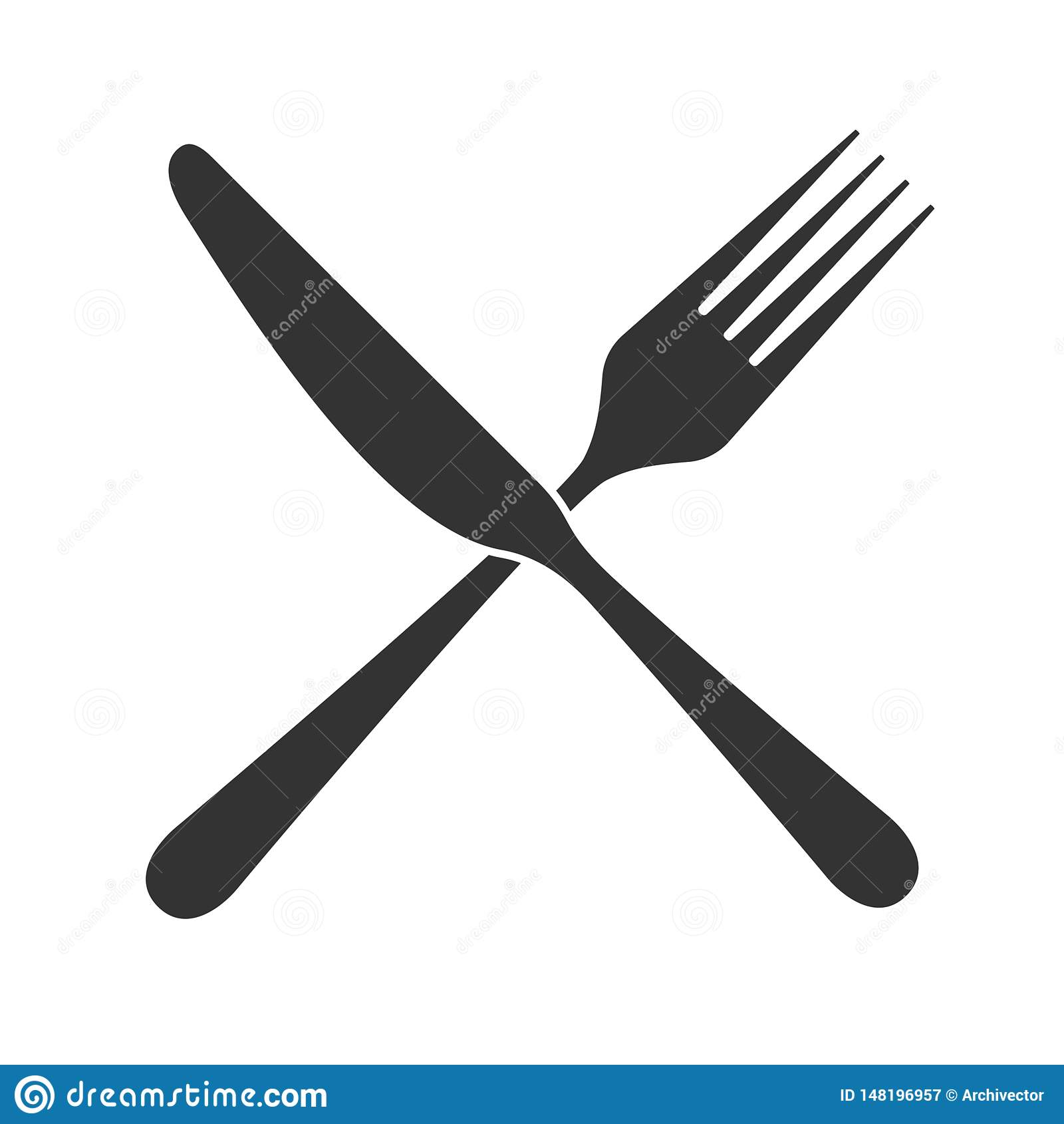 ?cone cruzado da faca e da forquilha