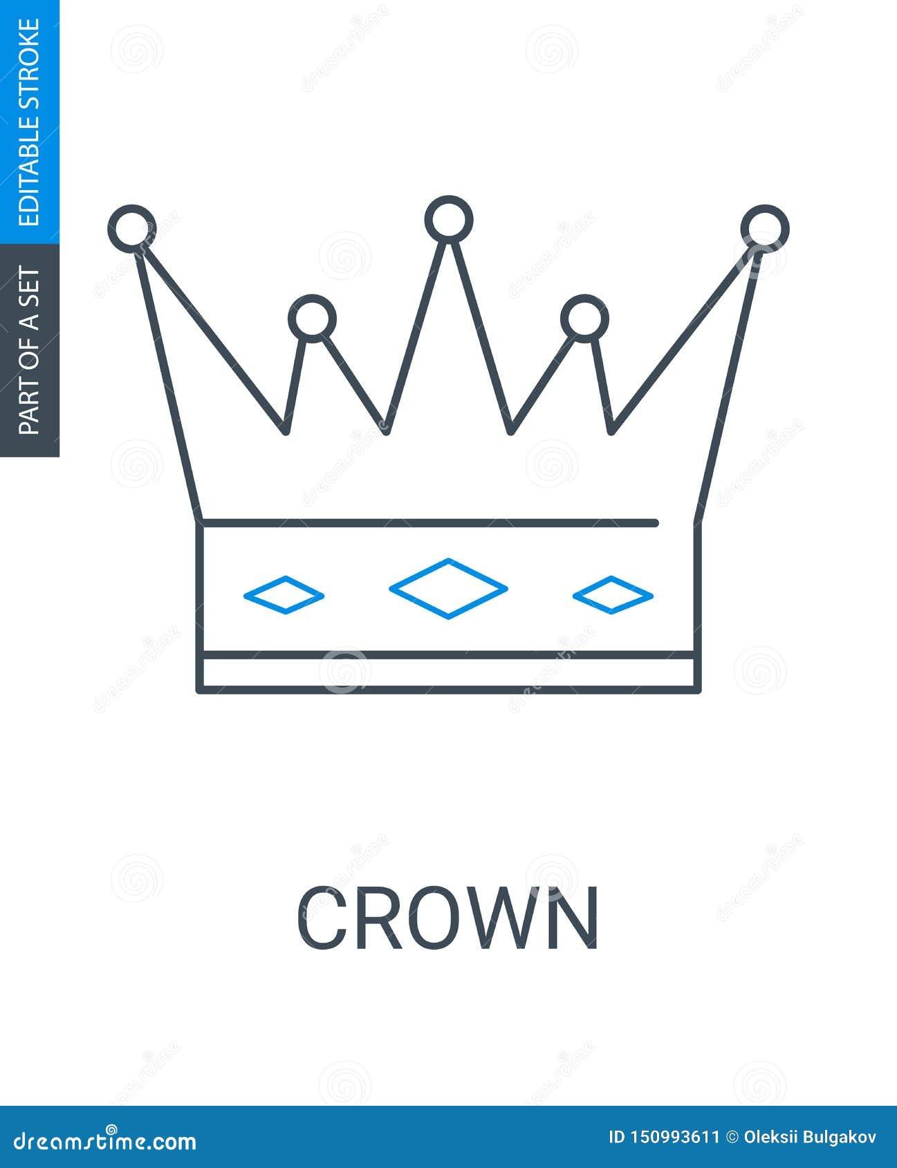 ?cone da coroa no fundo branco Símbolo do rei ou da rainha