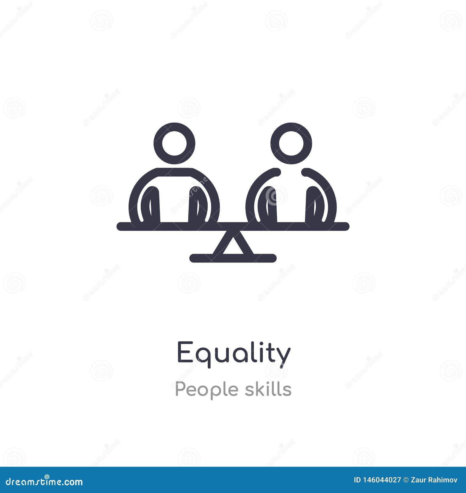 ?cone do esbo?o da igualdade linha isolada ilustra??o do vetor da cole??o das habilidades dos povos ?cone fino edit?vel da iguald