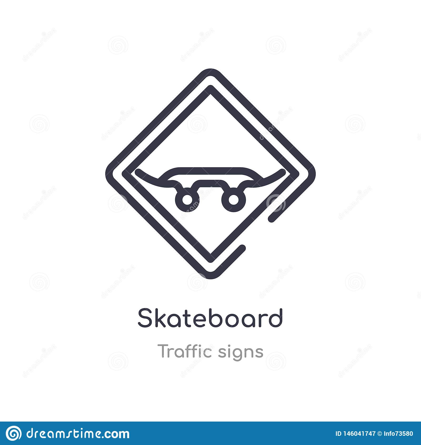 ?cone do esbo?o do skate linha isolada ilustra??o do vetor da cole??o dos sinais de tr?fego ícone fino editável do skate do curso