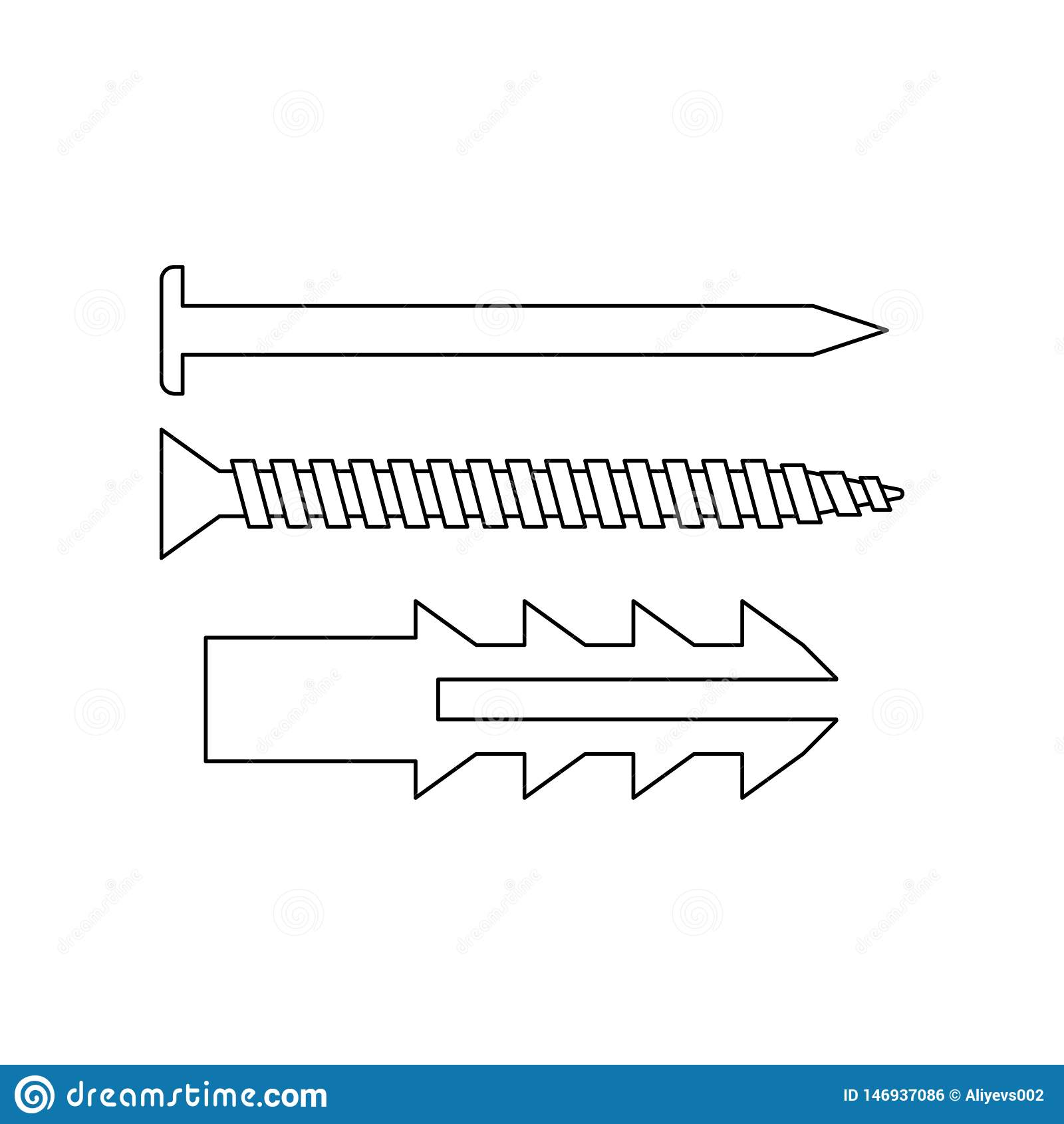 ?cone dos pregos da cor Elemento de ferramentas da constru??o para o conceito e o ?cone m?veis dos apps da Web Esbo?o, linha fina