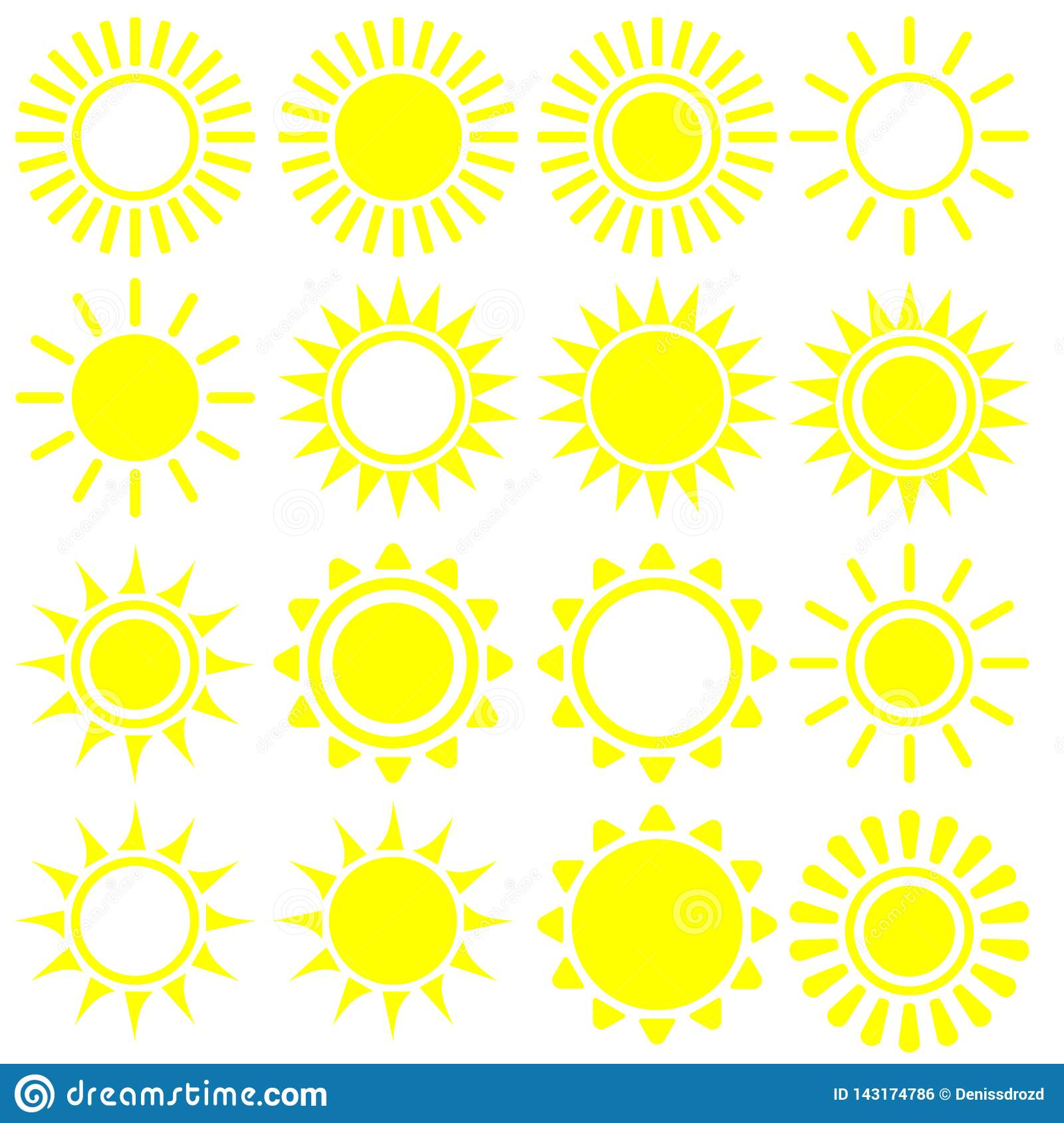?cone liso de Sun Pictograma de Sun S?mbolo na moda do ver?o do vetor para o projeto do Web site, bot?o da Web, app m?vel ilustra