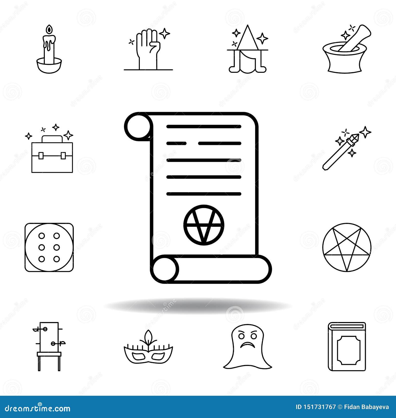?cone m?gico do esbo?o do rolo da arte elementos da linha mágica ícone da ilustração os sinais, símbolos podem ser usados para a