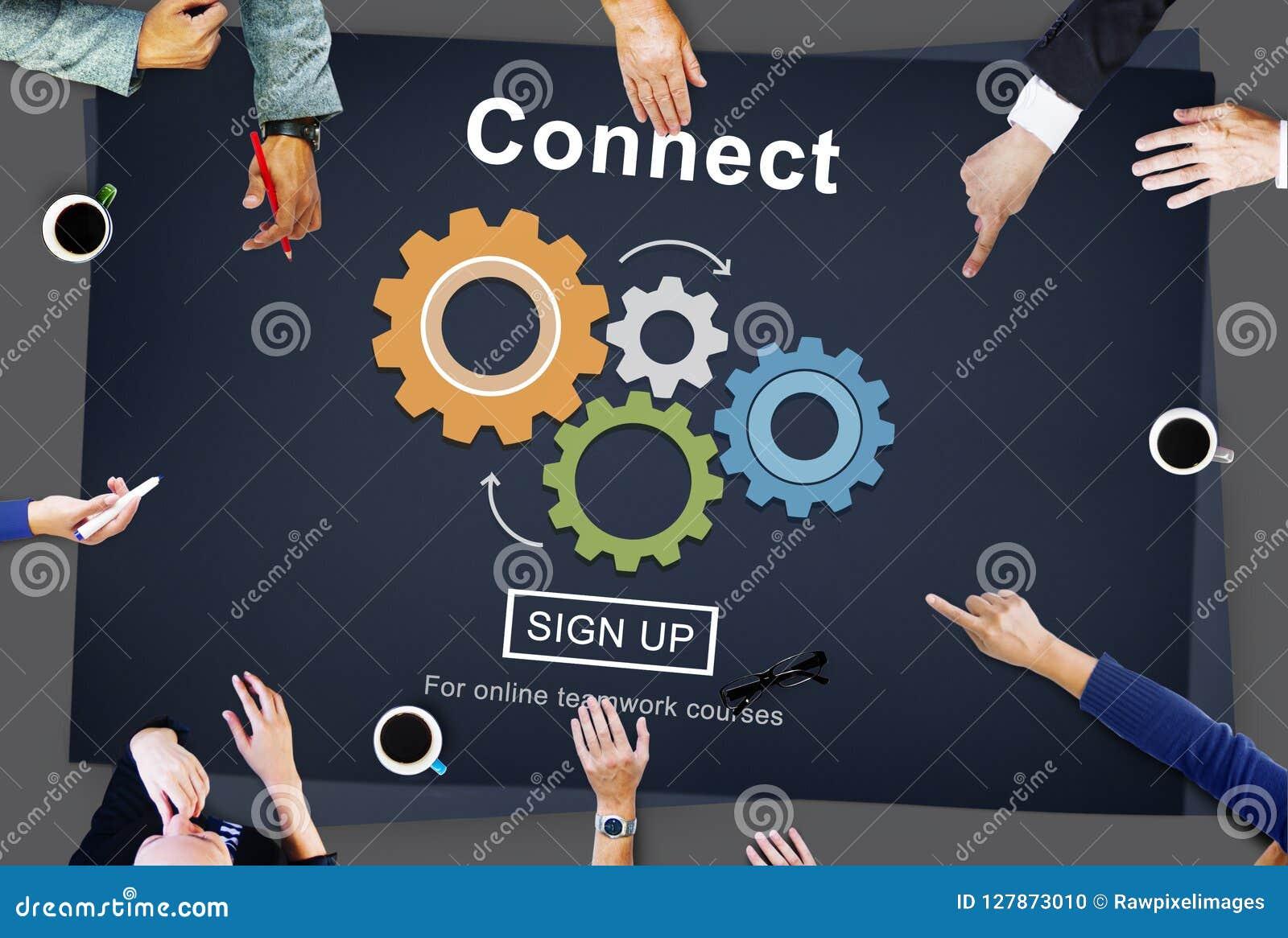 Conecte la interacción Team Teamwork Concept