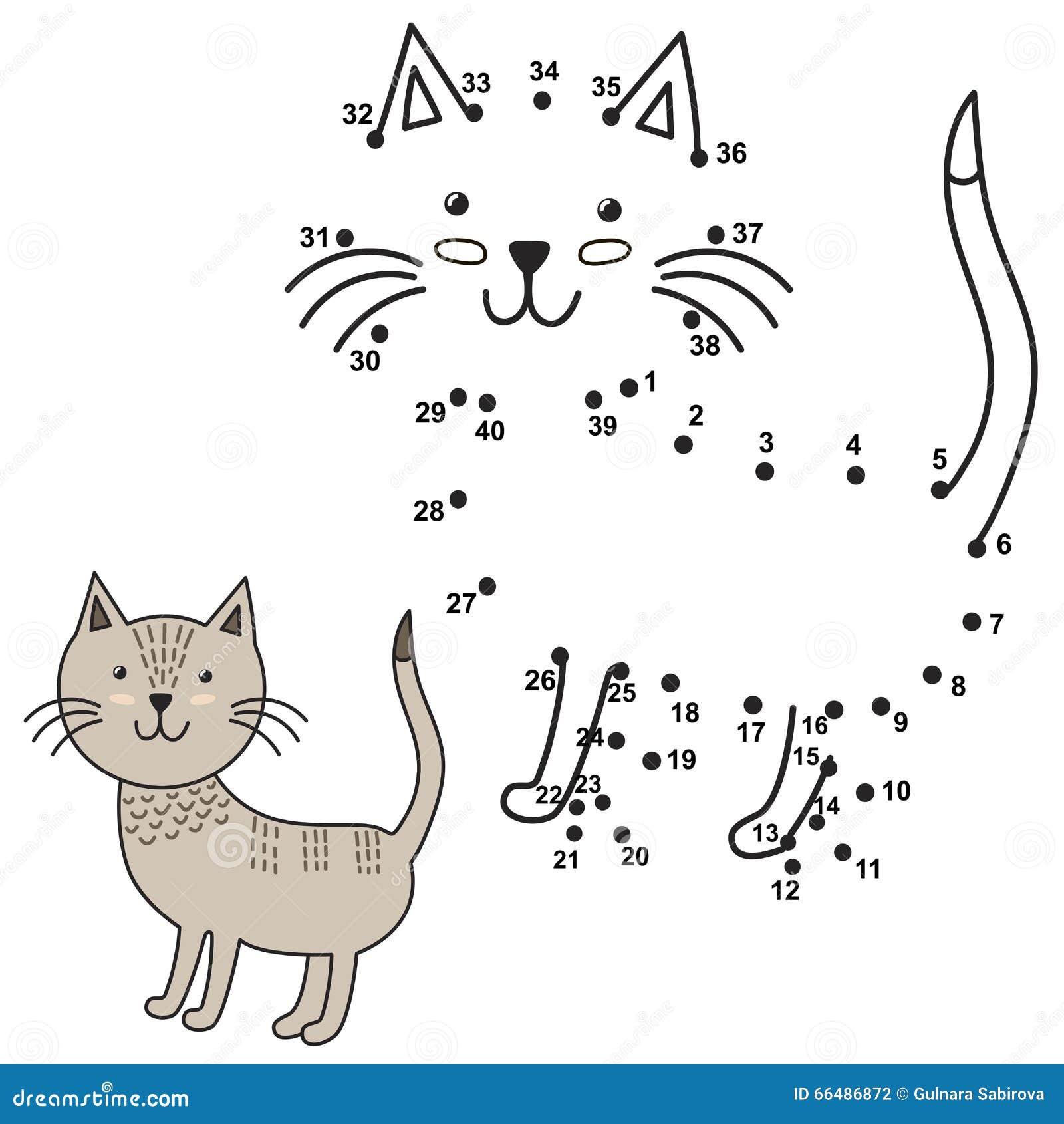 Conecte Los Puntos Para Dibujar El Gato Lindo Y Para Colorearlo ...