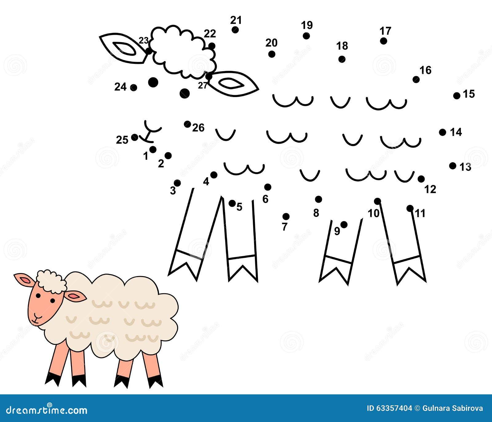 Conecte los puntos para dibujar las ovejas lindas