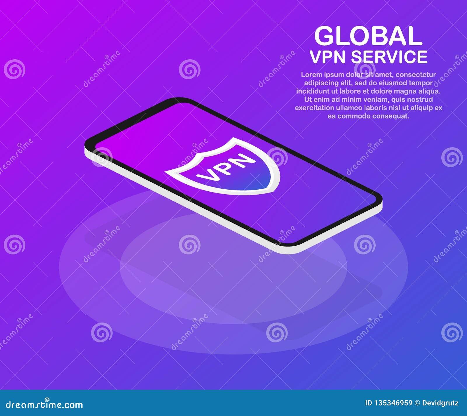 Conectividad del VPN Asegure el concepto de la conexión de red de soldado virtual Ejemplo isométrico del vector en los colores ul