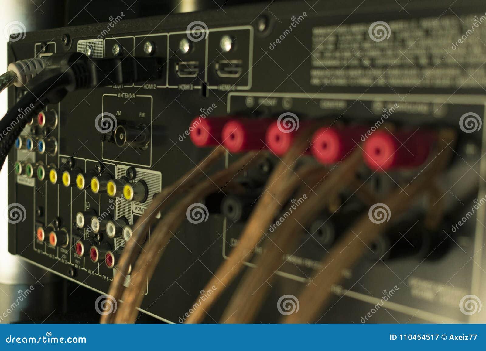 Conectores audio no receptor do sistema de áudio