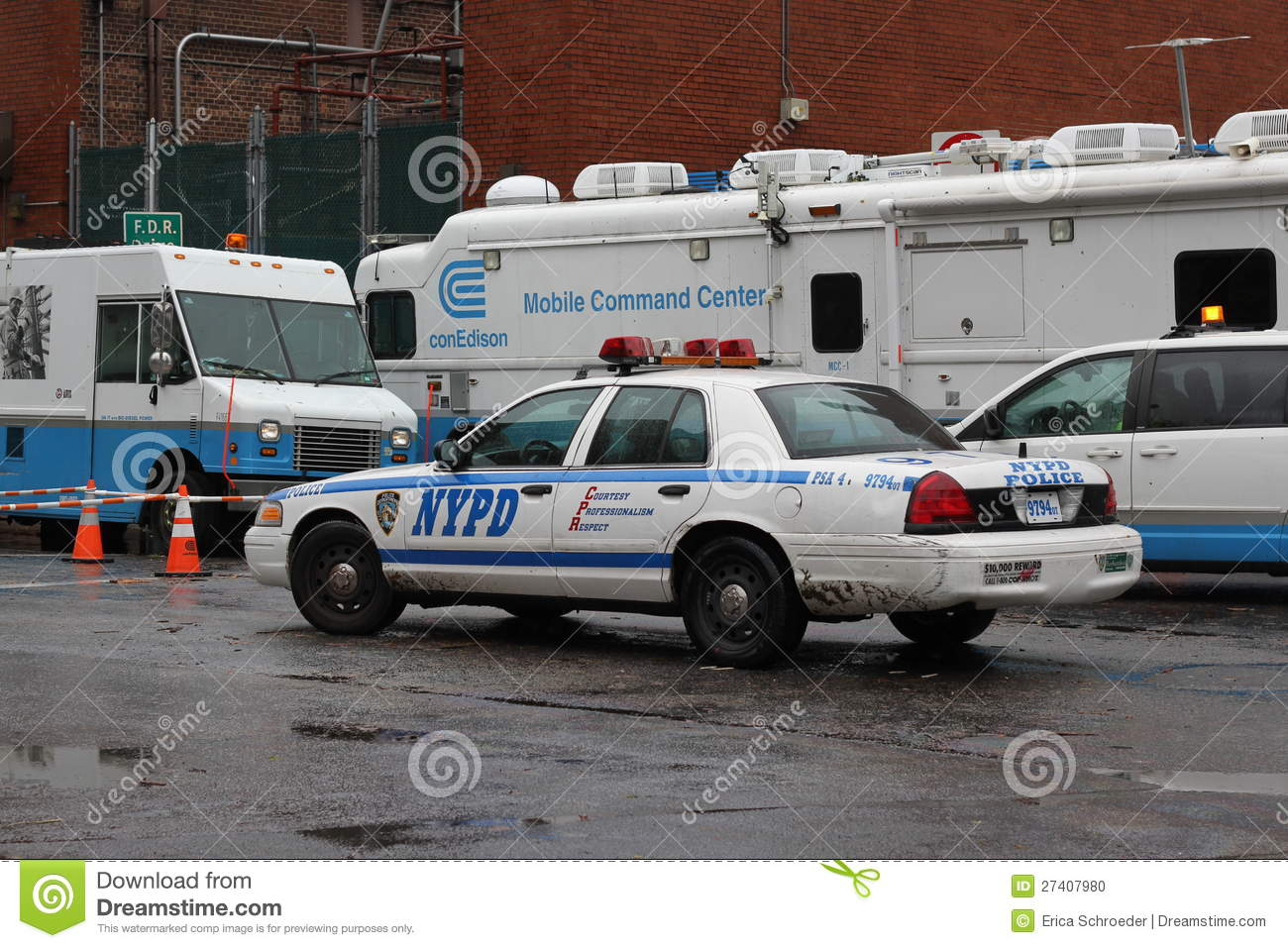 ConEdison Trucks lining NYC after Hurricane