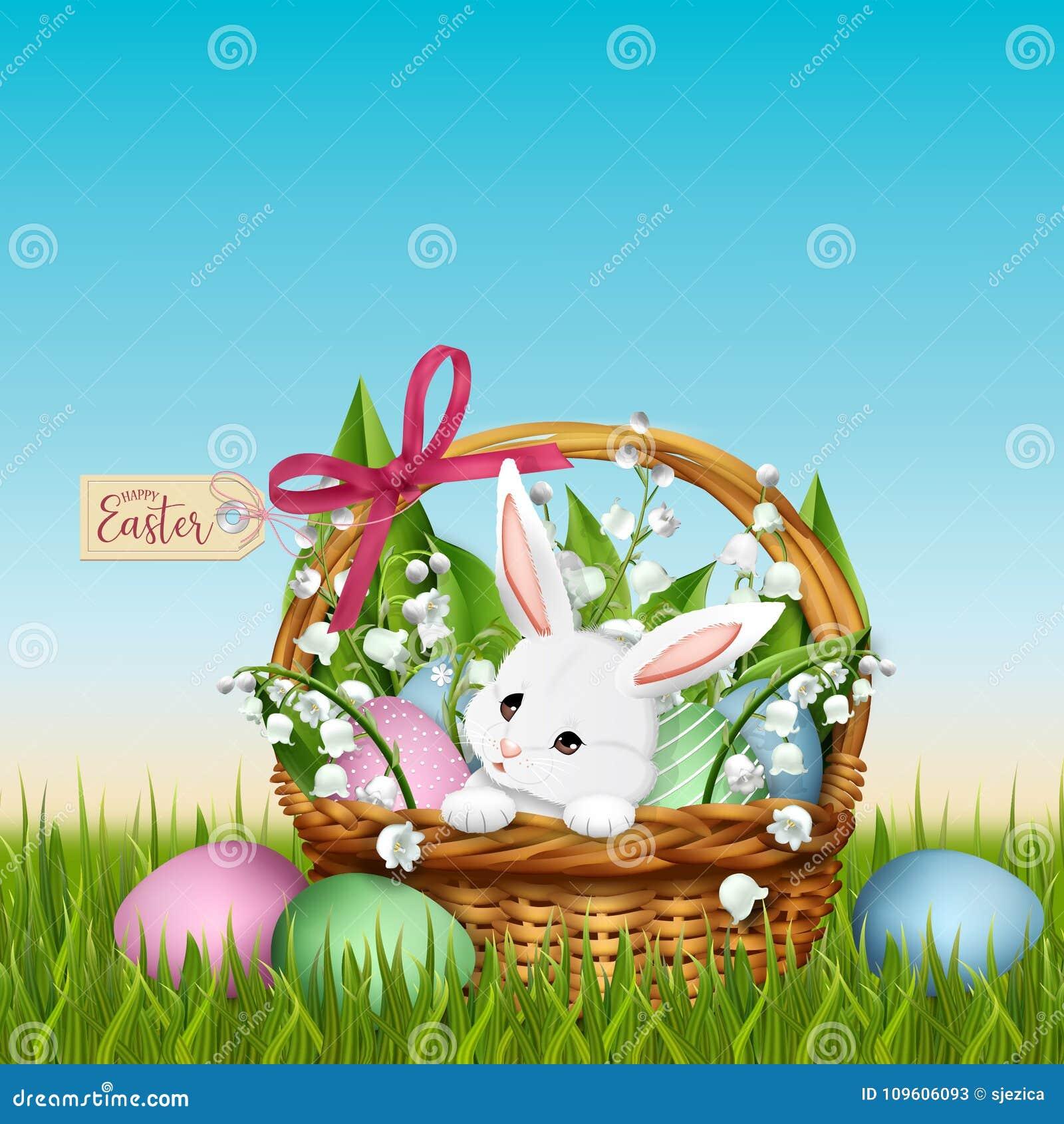 Conejito adorable en cesta de mimbre Fondo de la primavera de Pascua