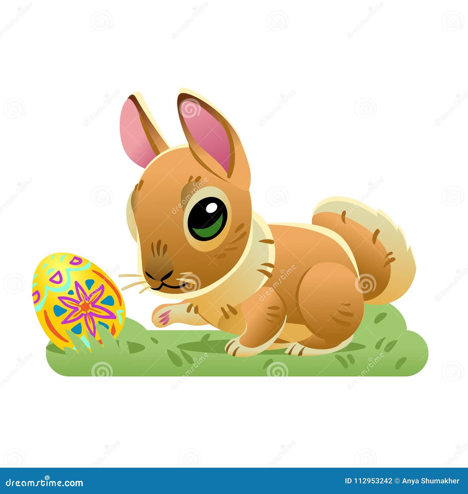Conejito De Pascua Con El Huevo En La Hierba Ejemplo De La ...