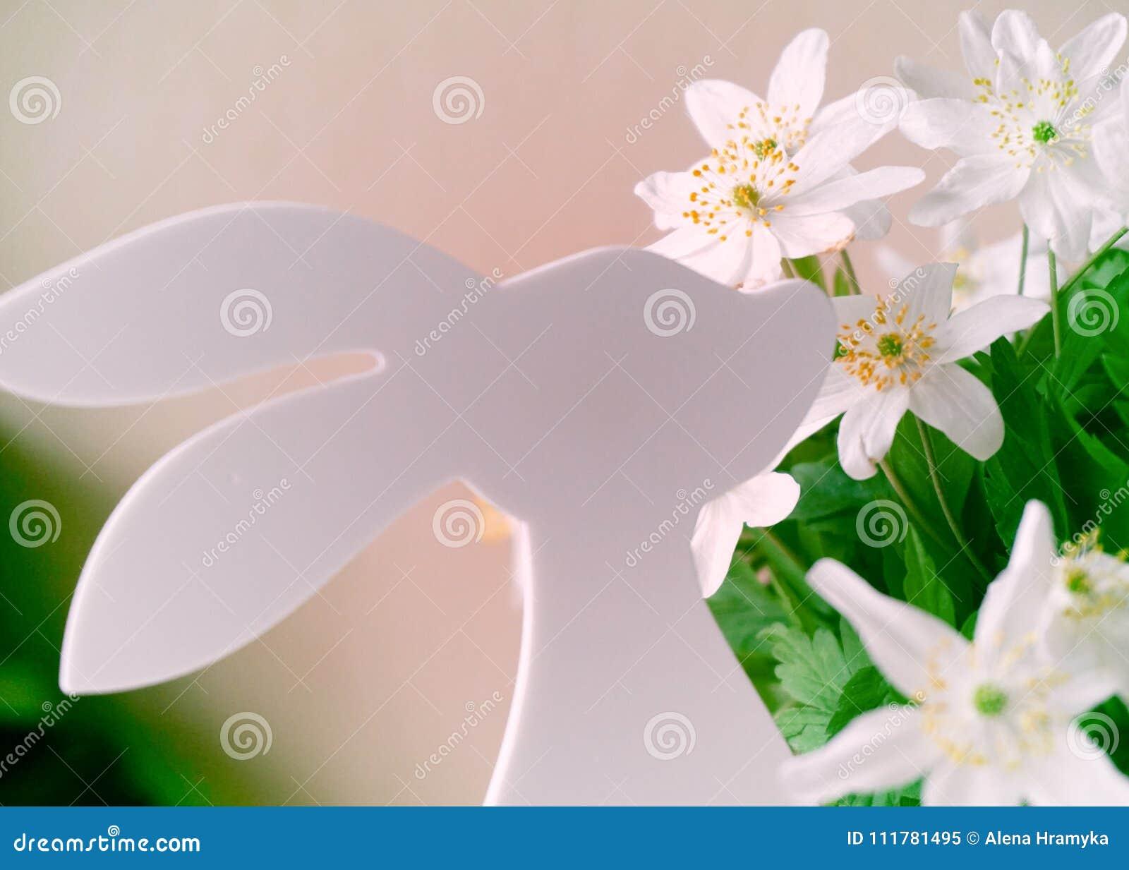 Conejito de pascua con las flores de la primavera
