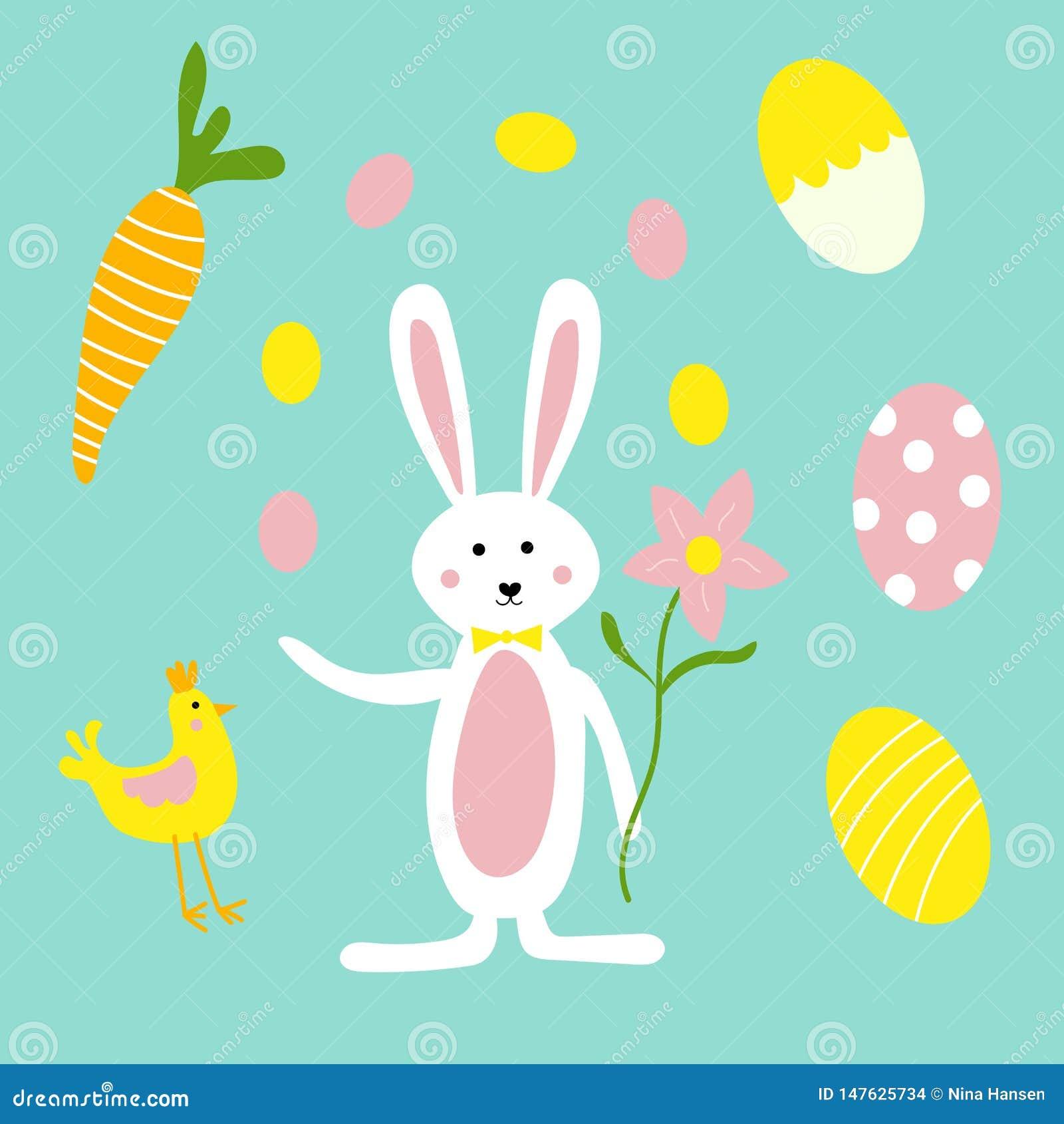 Conejito de pascua, flores, zanahorias y pollo lindos