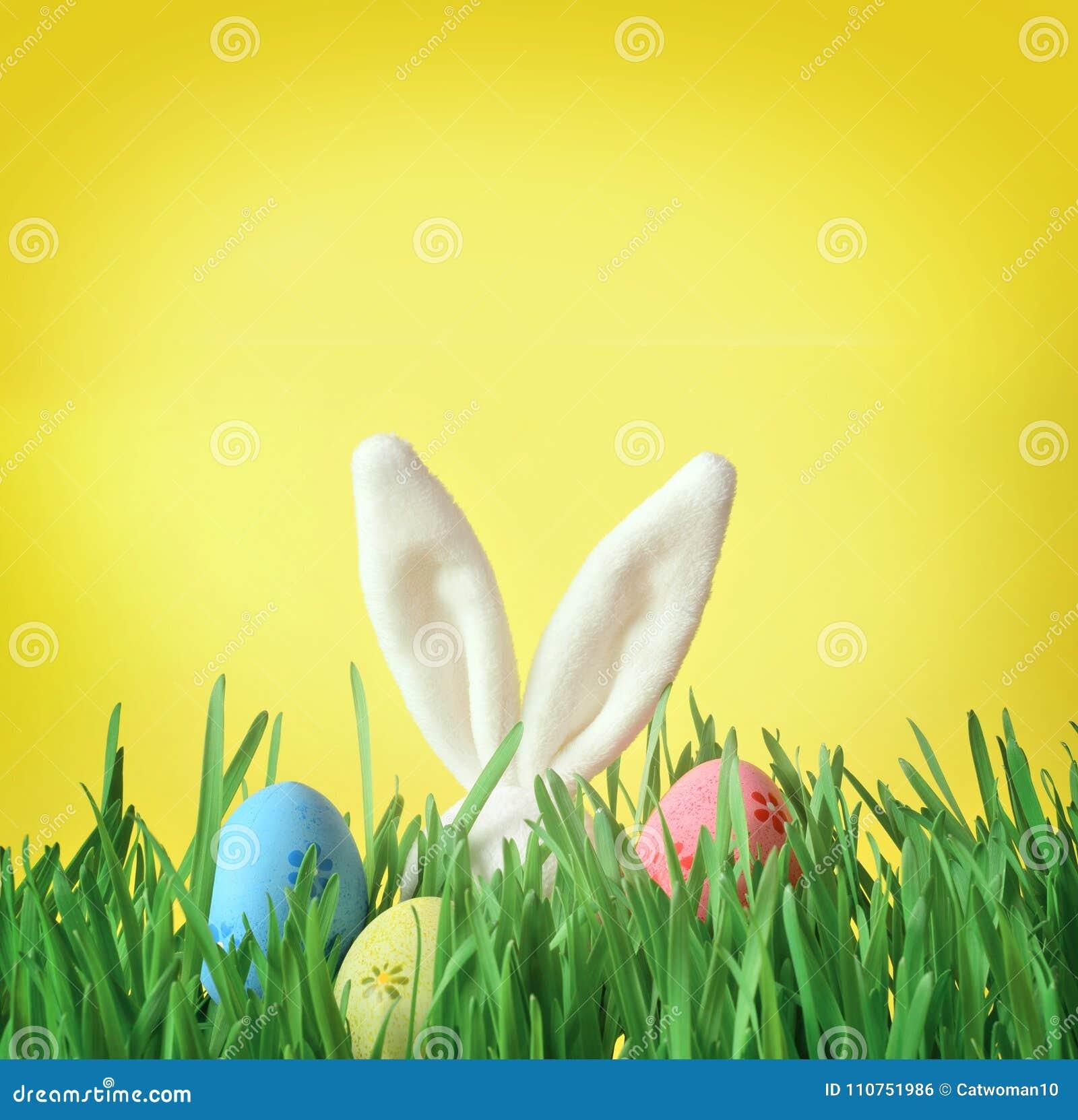 Conejito divertido de Pascua en hierba verde con los huevos de Pascua Fondo de Pascua