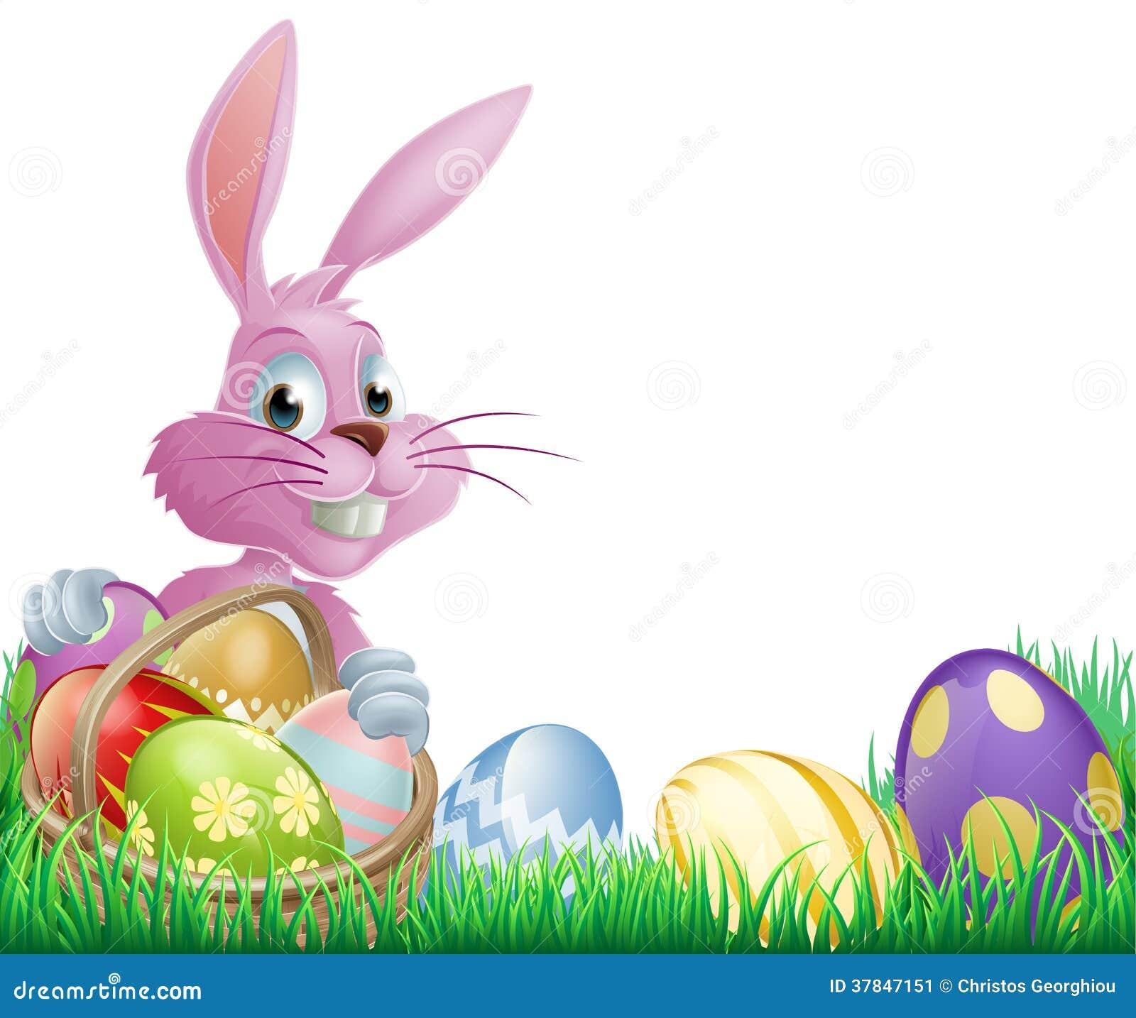Conejito rosado de los huevos de Pascua