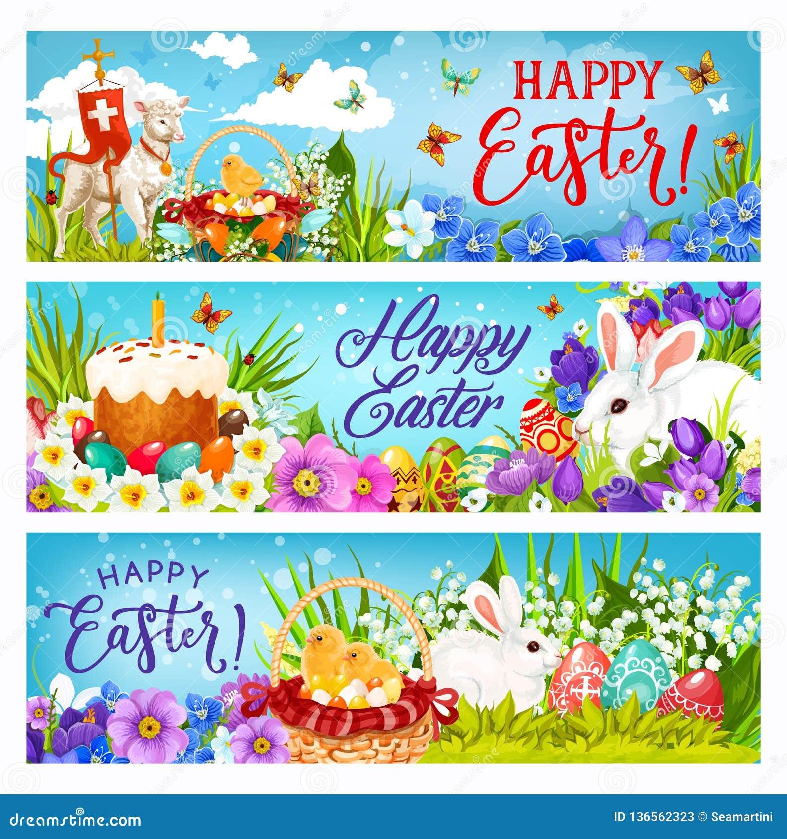 Conejitos de pascua con los huevos, las flores y los polluelos