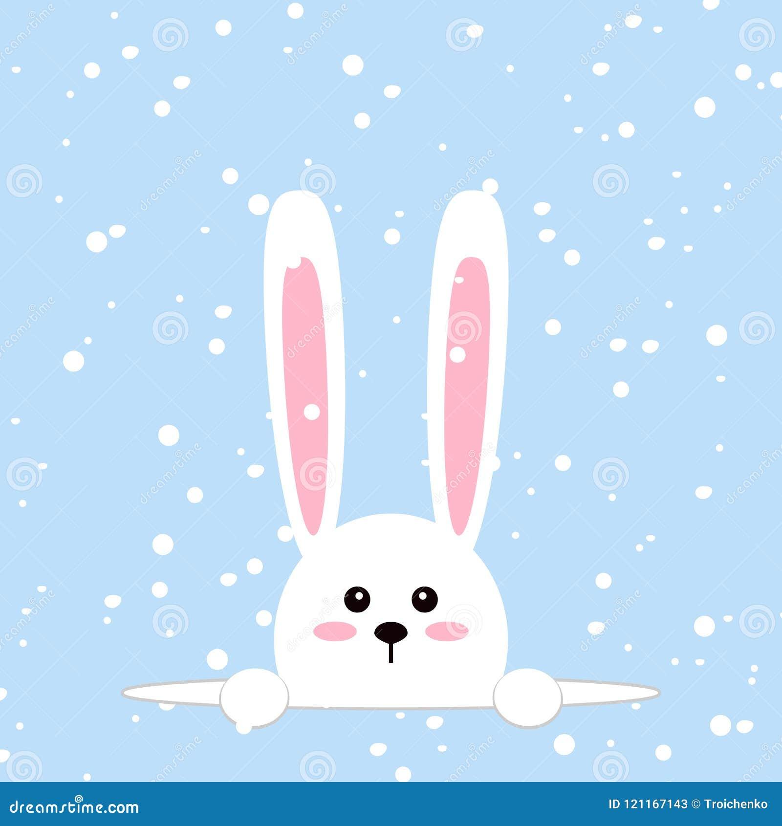 Conejo blanco de pascua Conejito divertido en estilo plano Conejito del este En fondo azul del invierno, copos de nieve que caen