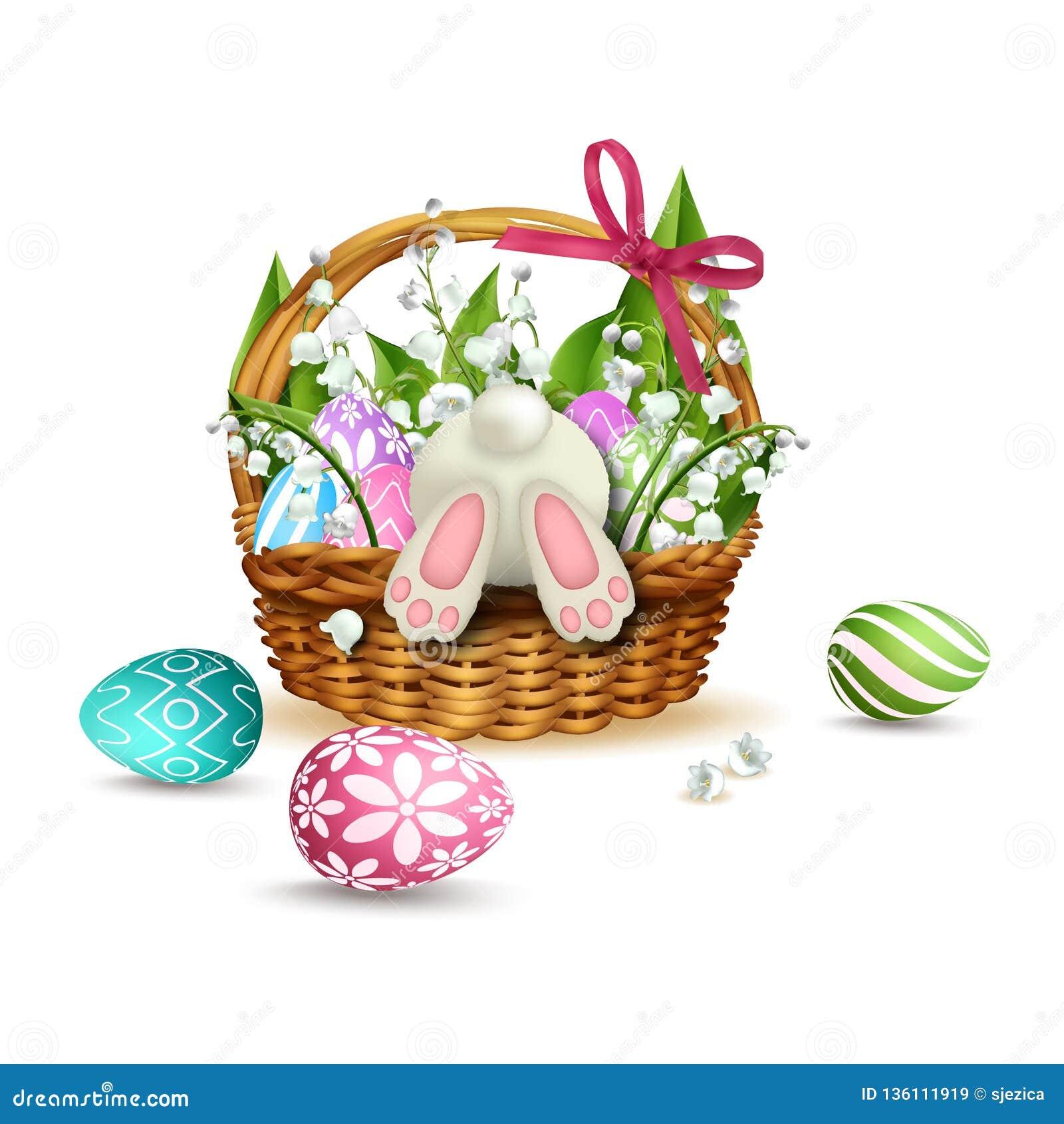 Conejo blanco en la cesta de mimbre de Pascua con los huevos coloridos Vector