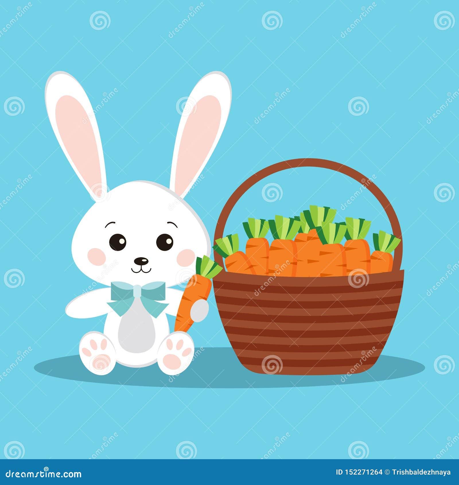 Conejo blanco lindo y dulce de Pascua feliz de conejito con la zanahoria