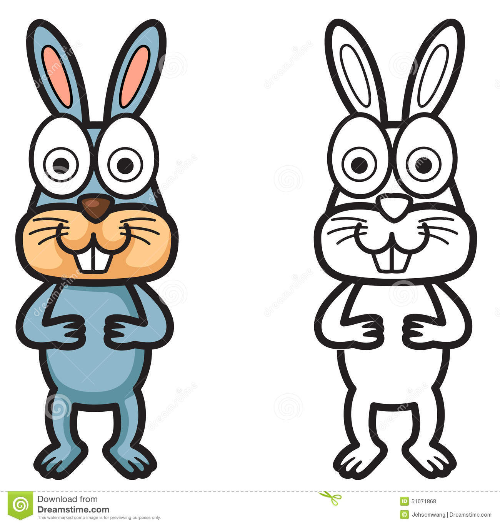 Conejo Colorido Y Blanco Y Negro Para El Libro De Colorear ...