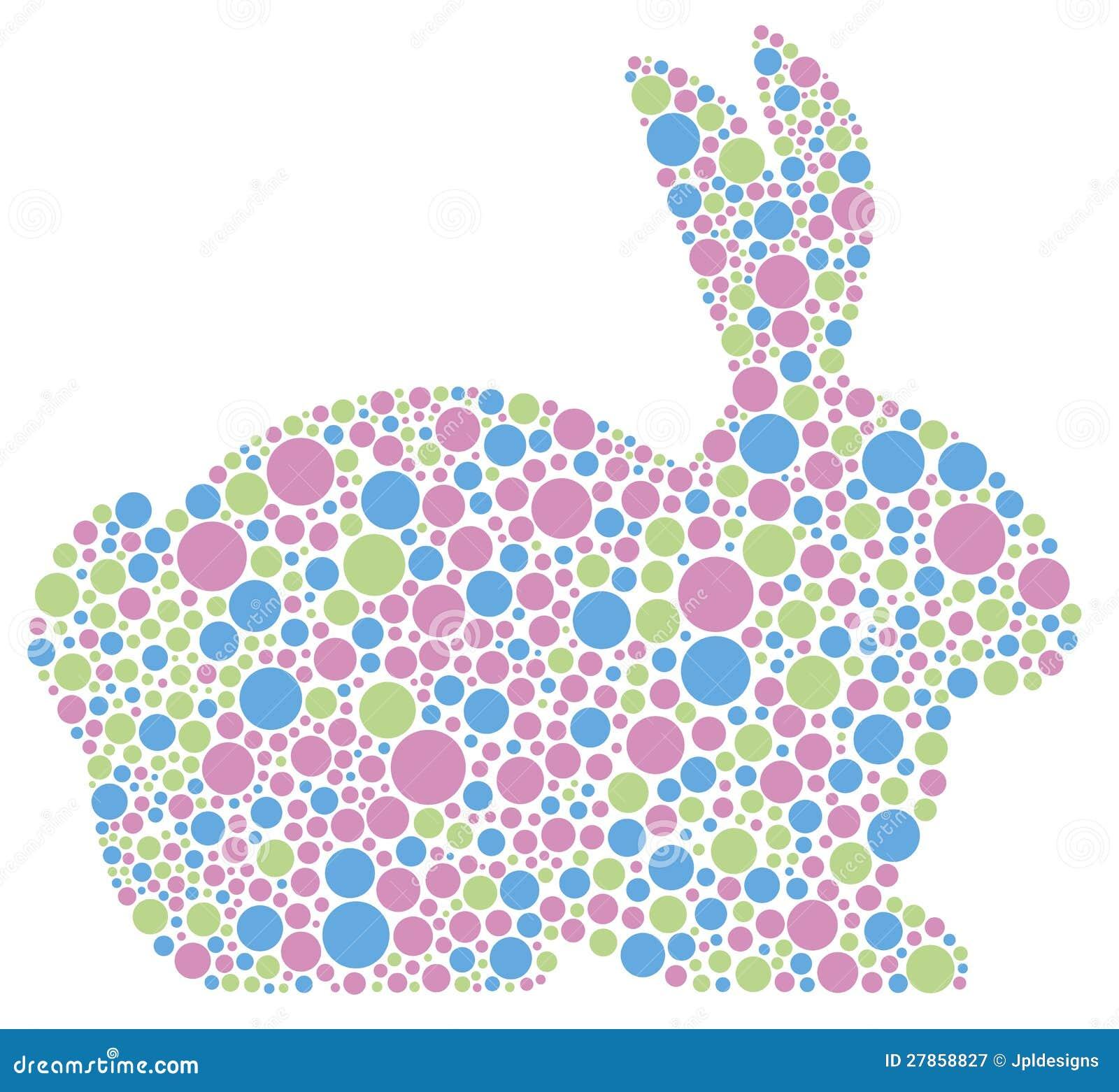 Conejo de conejito en puntos de polca en colores pastel