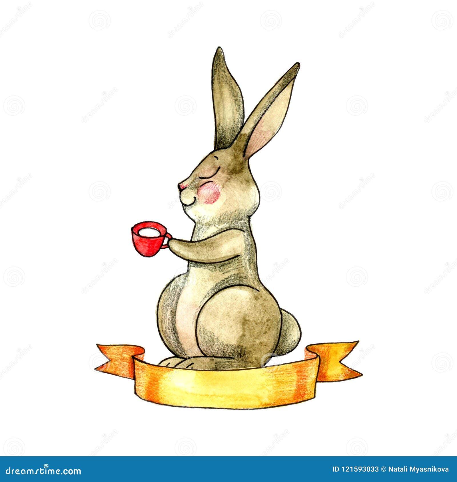 Conejo De La Acuarela Con Una Taza De Té Ejemplo Dibujado Mano En El ...
