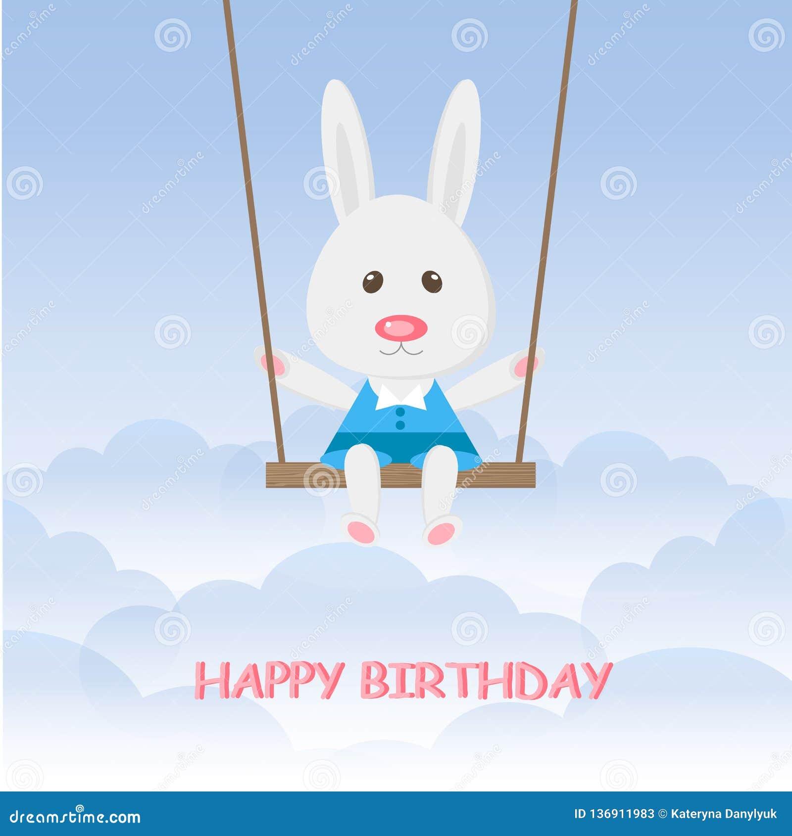 Conejo de las historietas que balancea en el oscilación en el cielo azul Feliz cumpleaños del muchacho lindo de las liebres