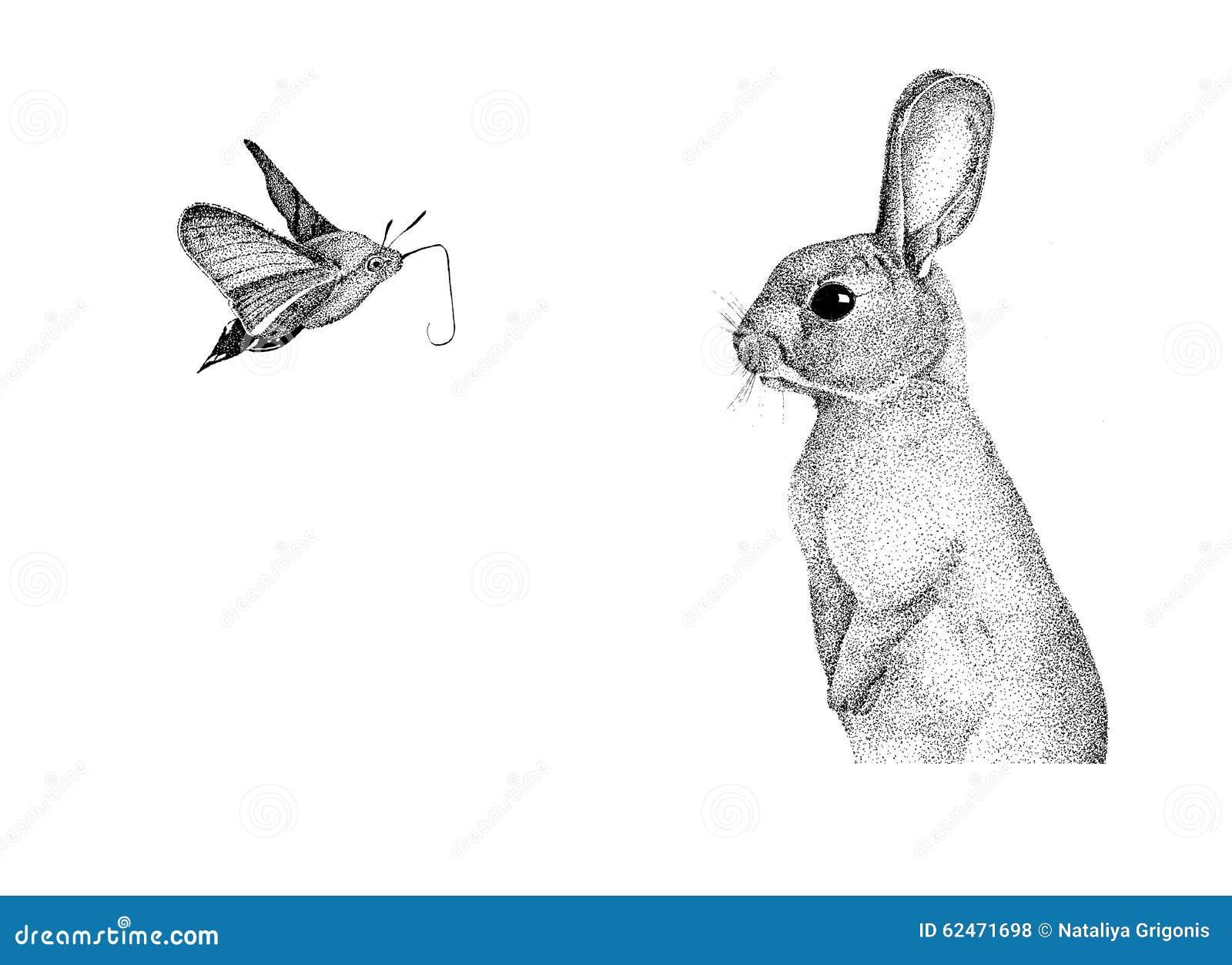 Conejo Hecho A Mano De Los Gráficos Stock de ilustración ...