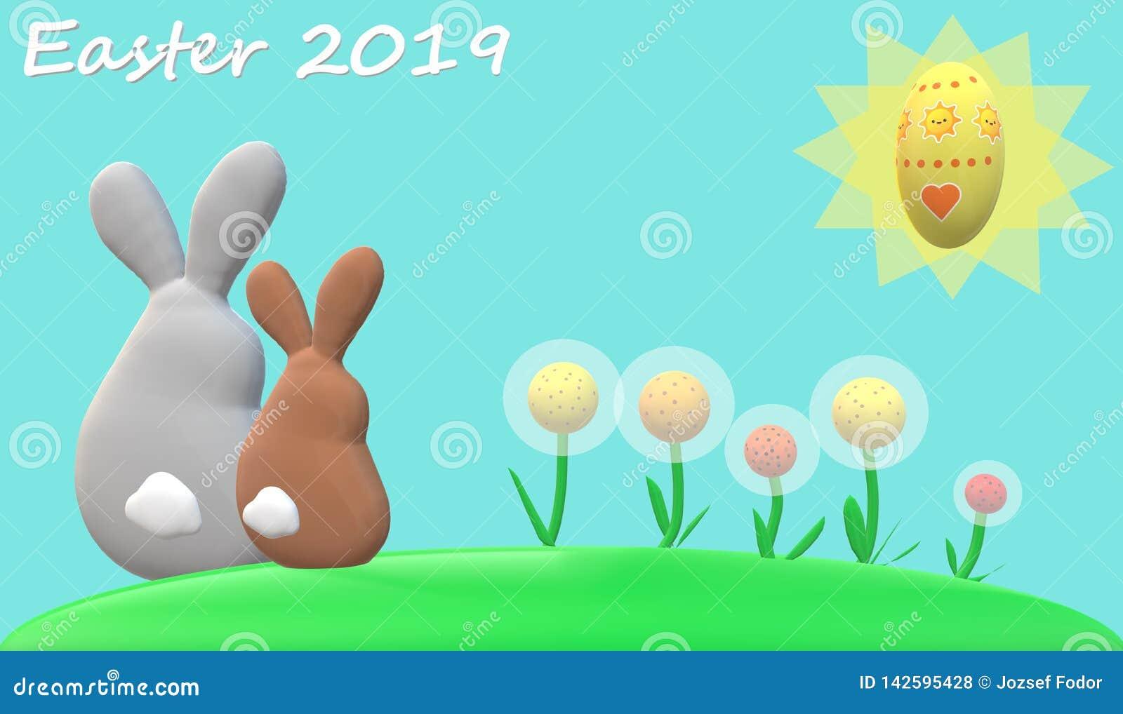 Conejos de Pascua, flores, sol, huevo de Pascua con el fondo azul claro y subtítulo de 'pascua 2019 '