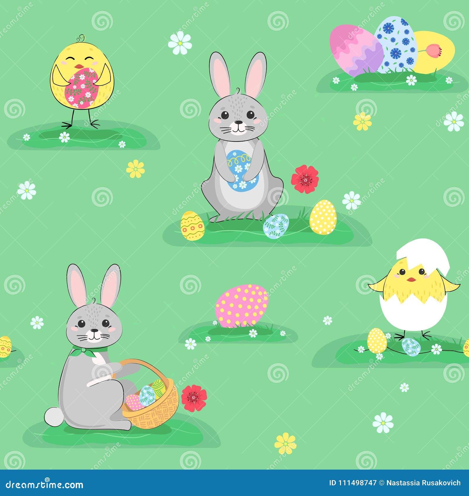Conejos de Pascua, pollos y huevos inconsútiles modelo, fondo