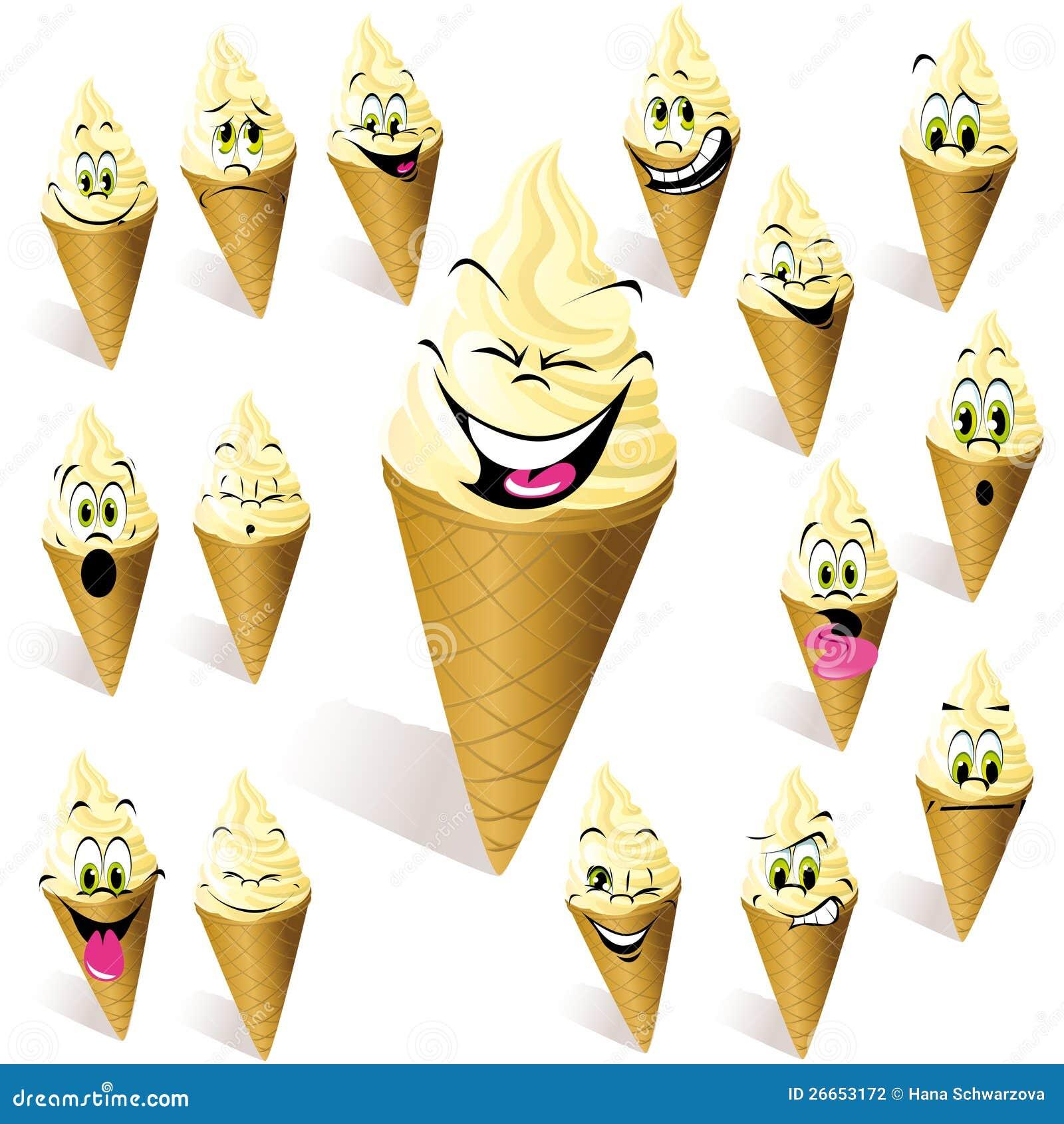 cones de gelado dos desenhos animados ilustração do vetor