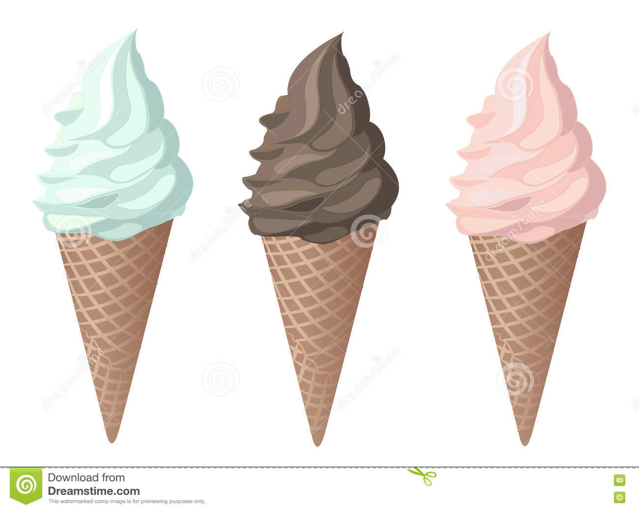 cones strawberry mint chocolate ice cream vector stock illustration