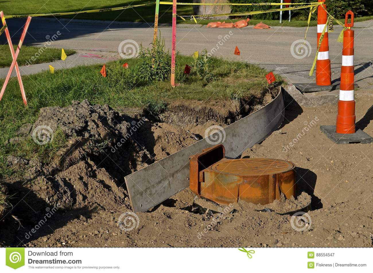 Cones Surround A Curb Construction Project Stock Image
