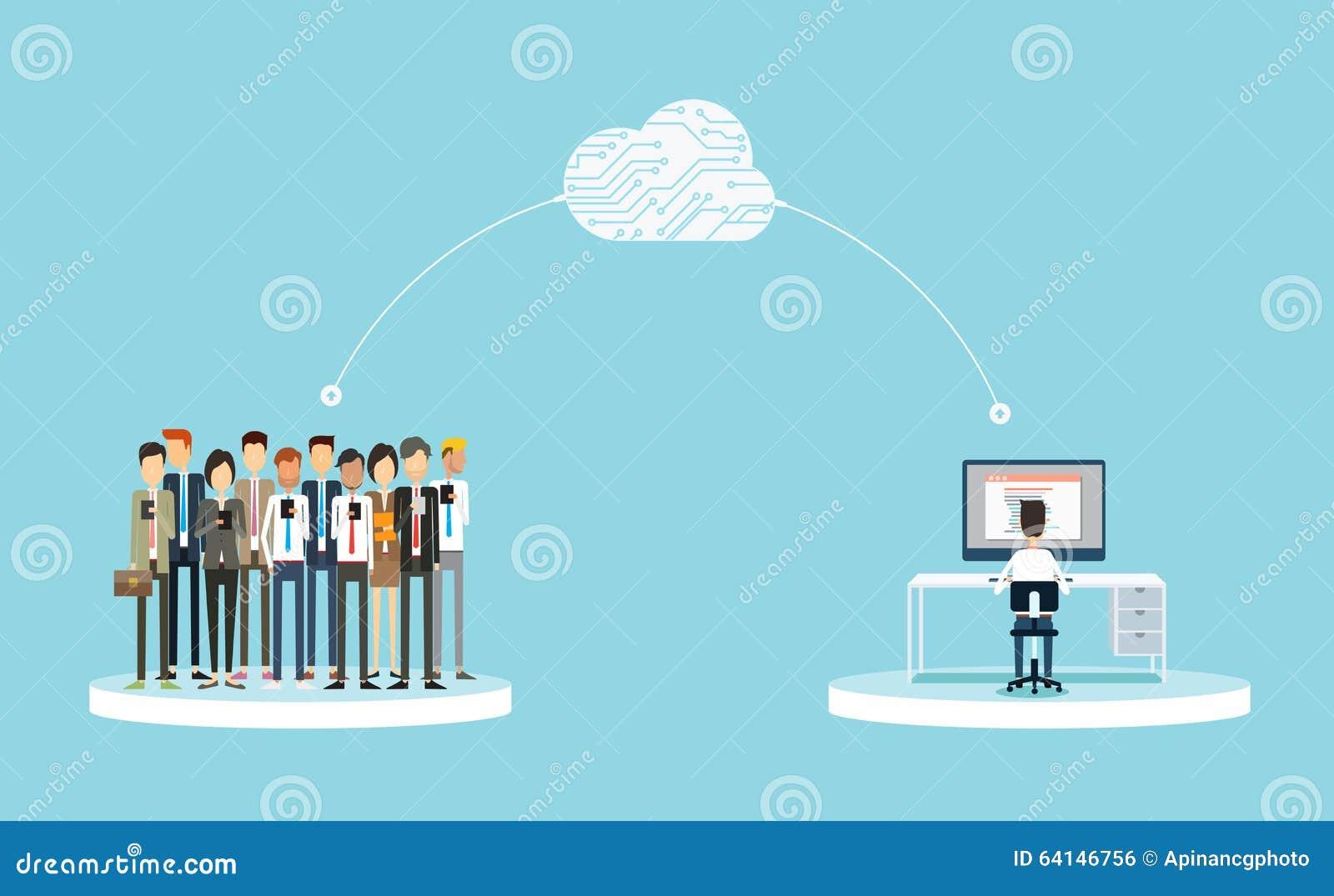Conexão de negócio aos clientes no conceito da nuvem relações públicas do negócio na linha negócio no conceito da rede da nuvem P