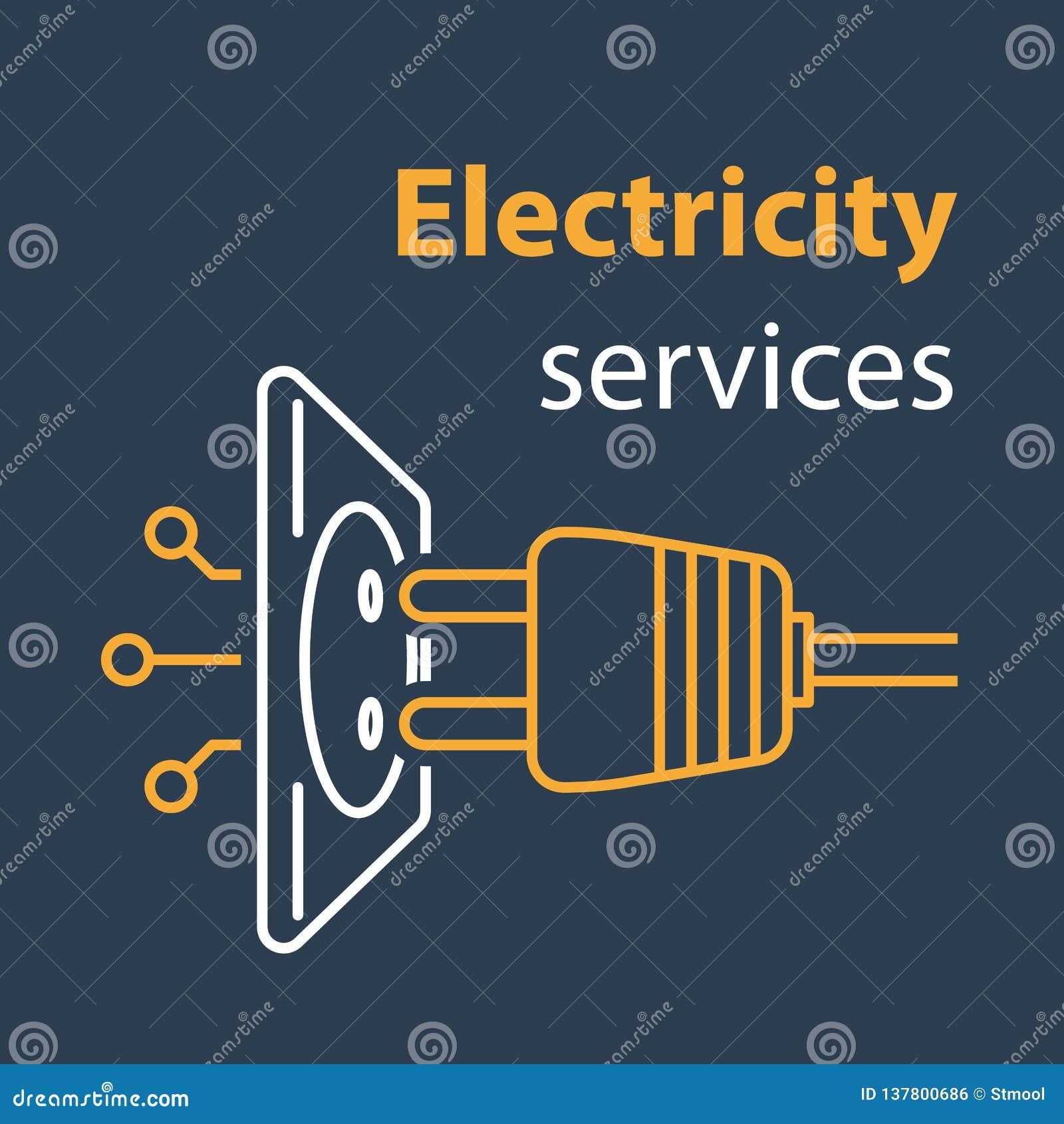 Conexão do soquete e da tomada, serviços da eletricidade, tomada elétrica, reparo e manutenção, linha ilustração